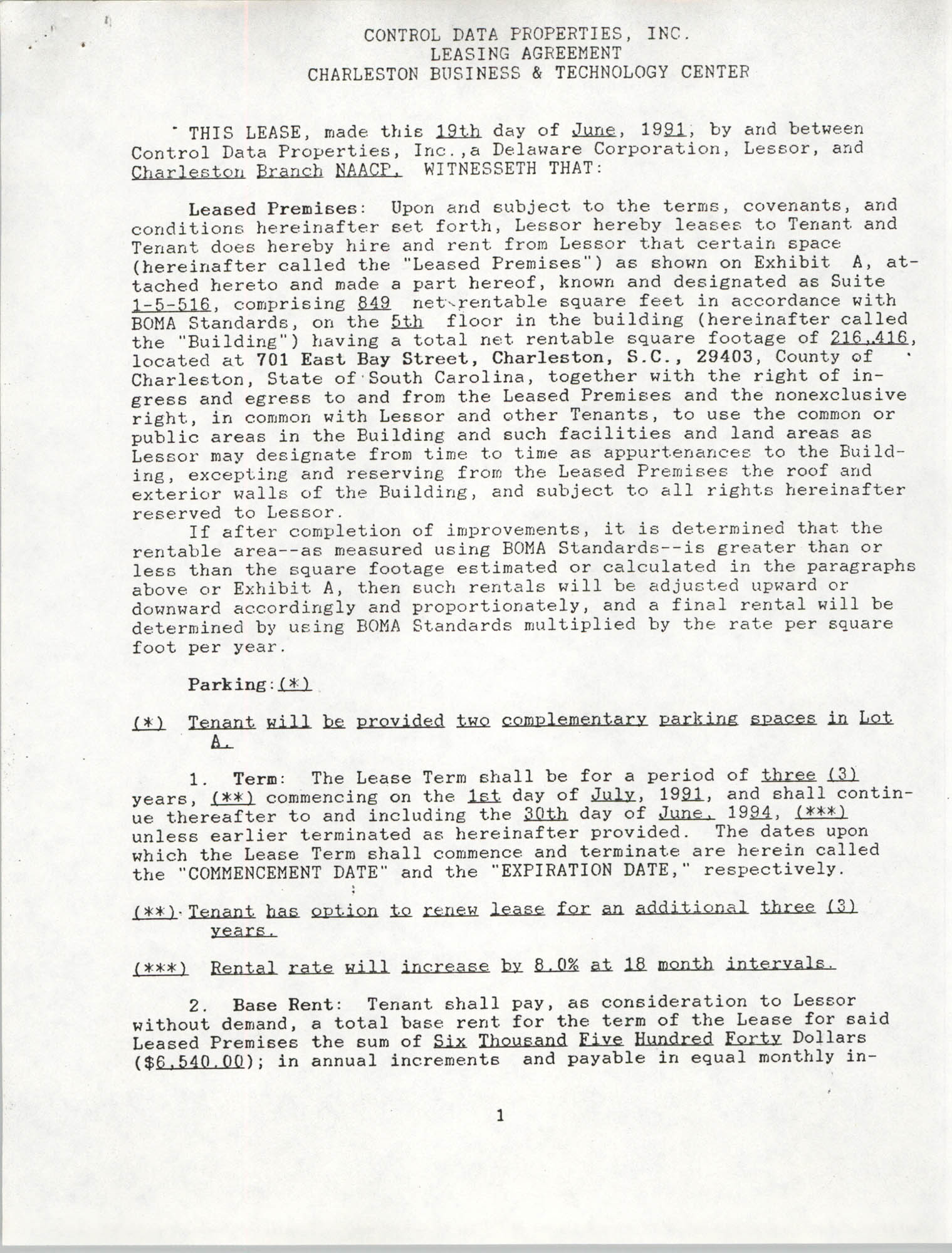 Charleston Branch of the NAACP Leasing Agreement, June 1991 to June 1994, Page 1