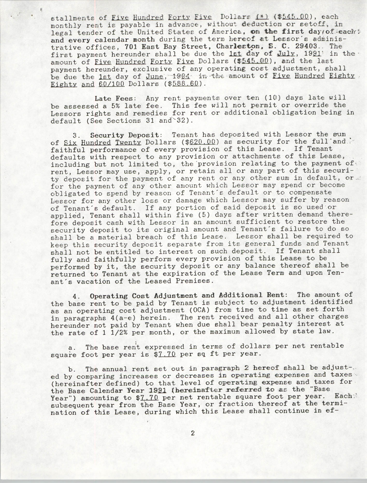 Charleston Branch of the NAACP Leasing Agreement, June 1991 to June 1994, Page 2