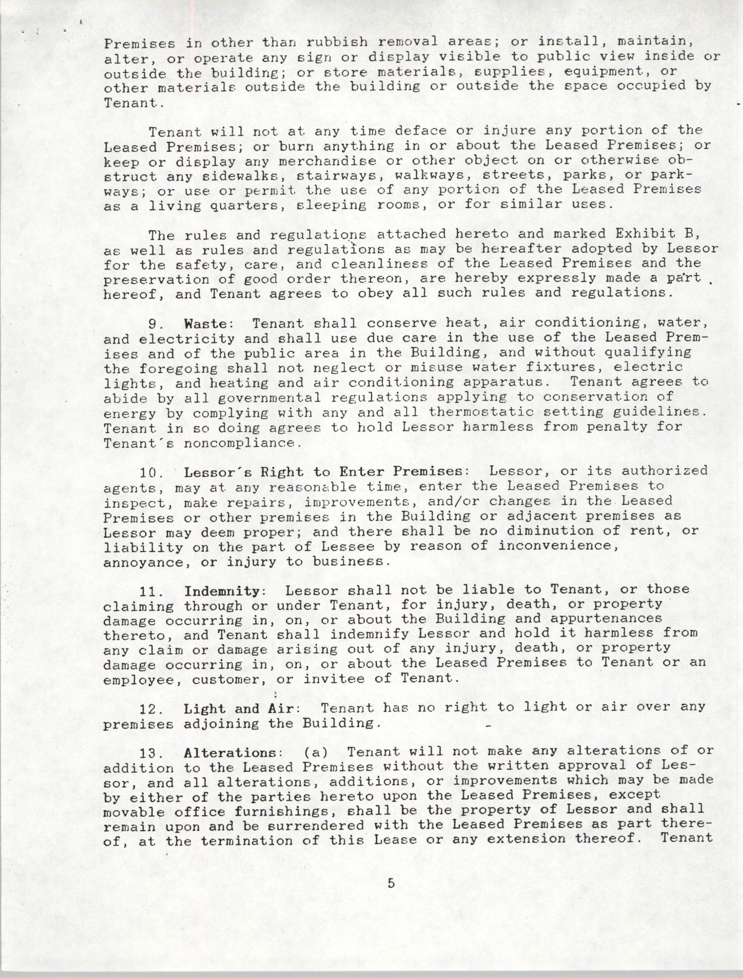 Charleston Branch of the NAACP Leasing Agreement, June 1991 to June 1994, Page 5