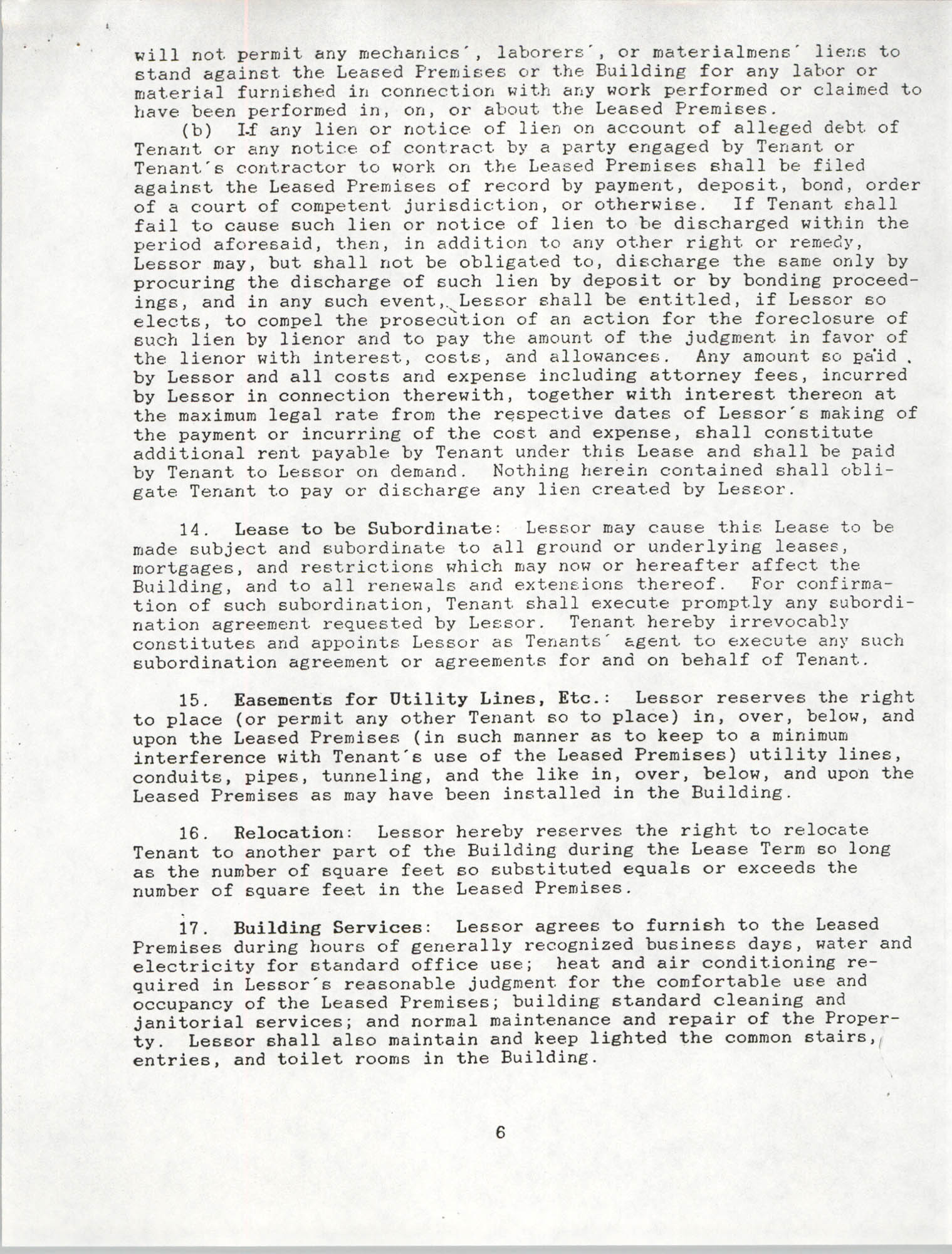 Charleston Branch of the NAACP Leasing Agreement, June 1991 to June 1994, Page 6