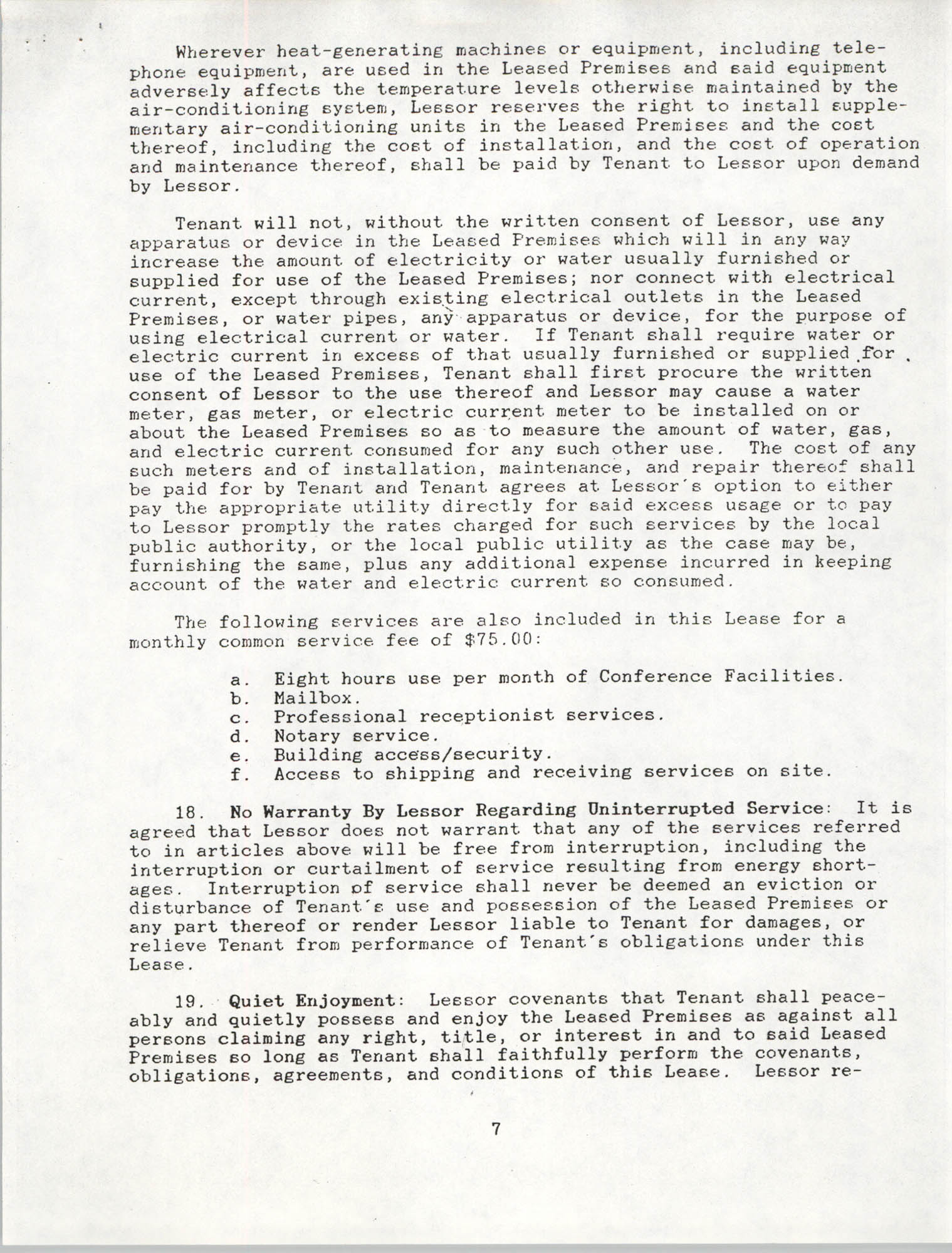 Charleston Branch of the NAACP Leasing Agreement, June 1991 to June 1994, Page 7
