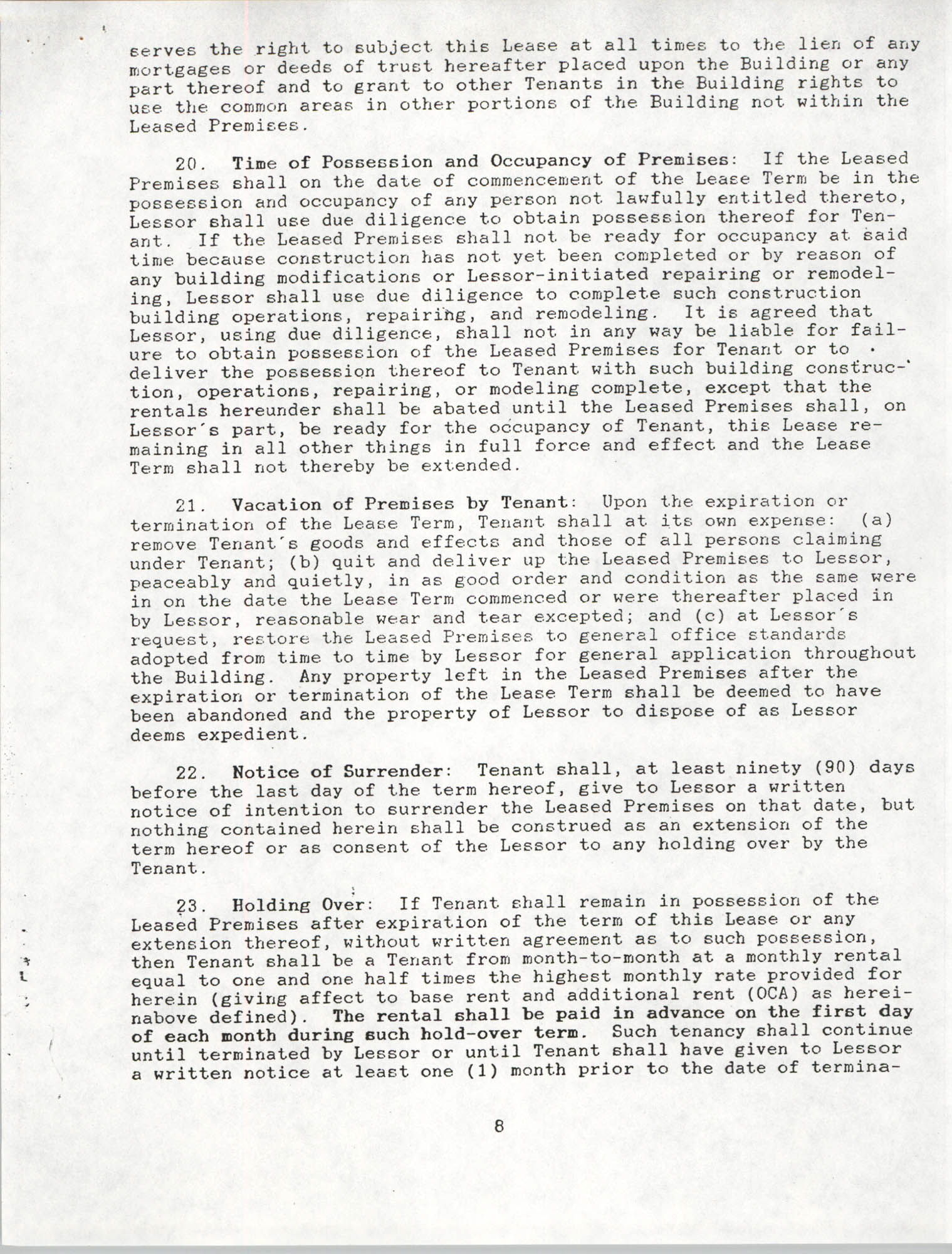 Charleston Branch of the NAACP Leasing Agreement, June 1991 to June 1994, Page 8