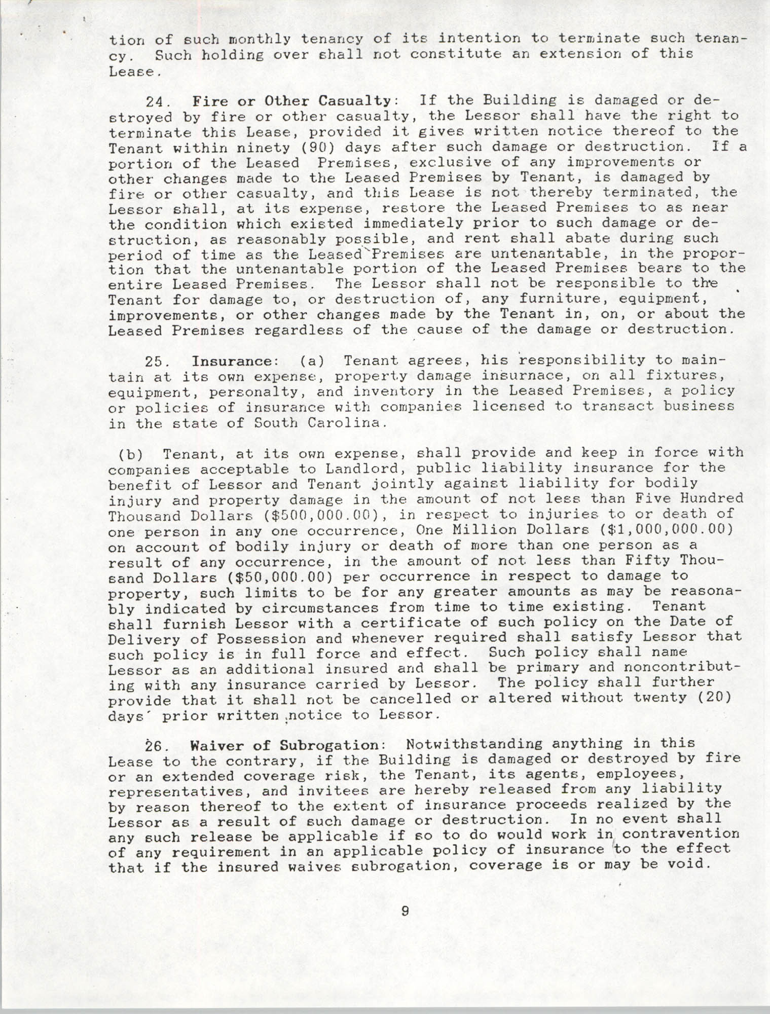 Charleston Branch of the NAACP Leasing Agreement, June 1991 to June 1994, Page 9