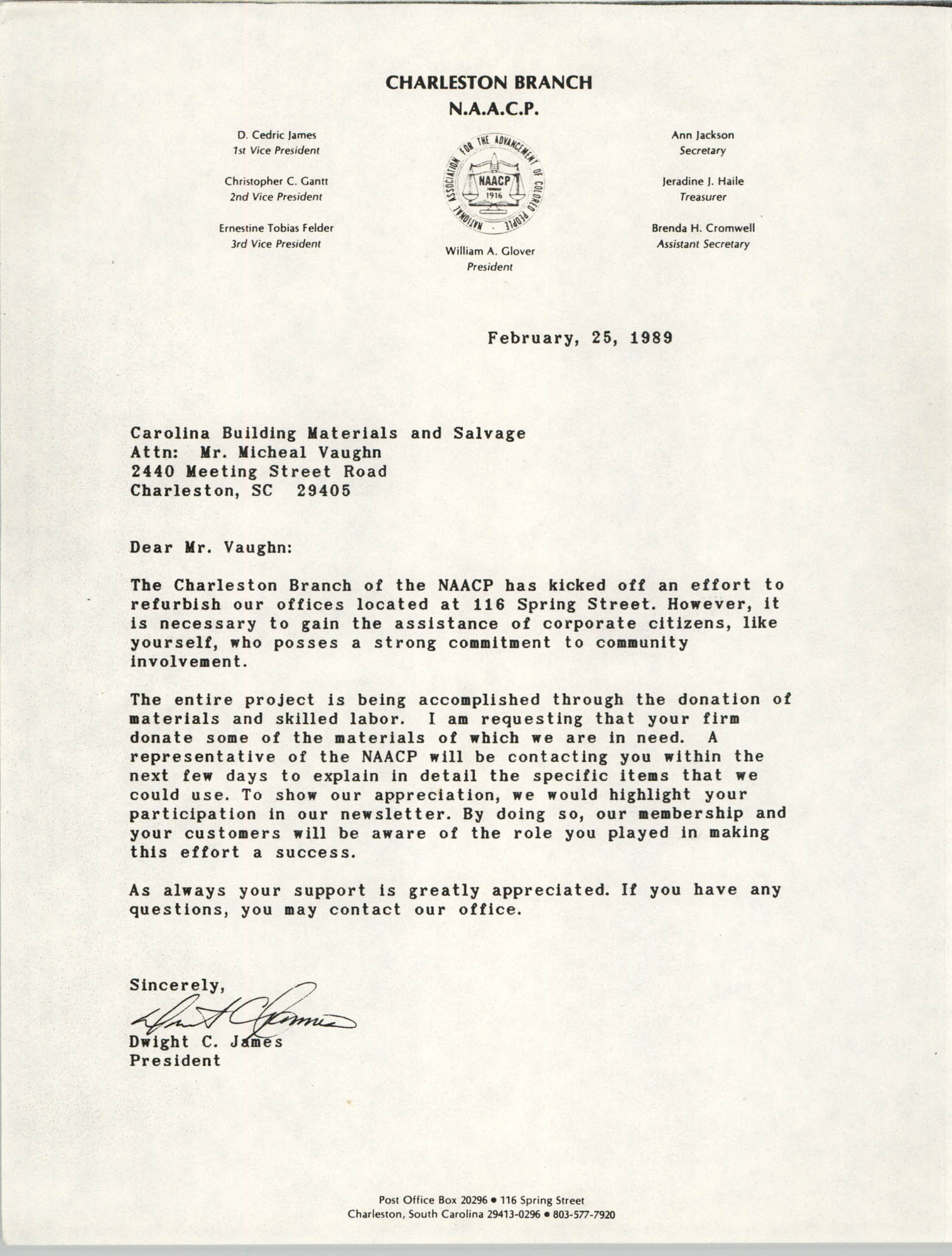 Charleston Chapter of the NAACP Fundraising Letters, February 25, 1989, Letter 1