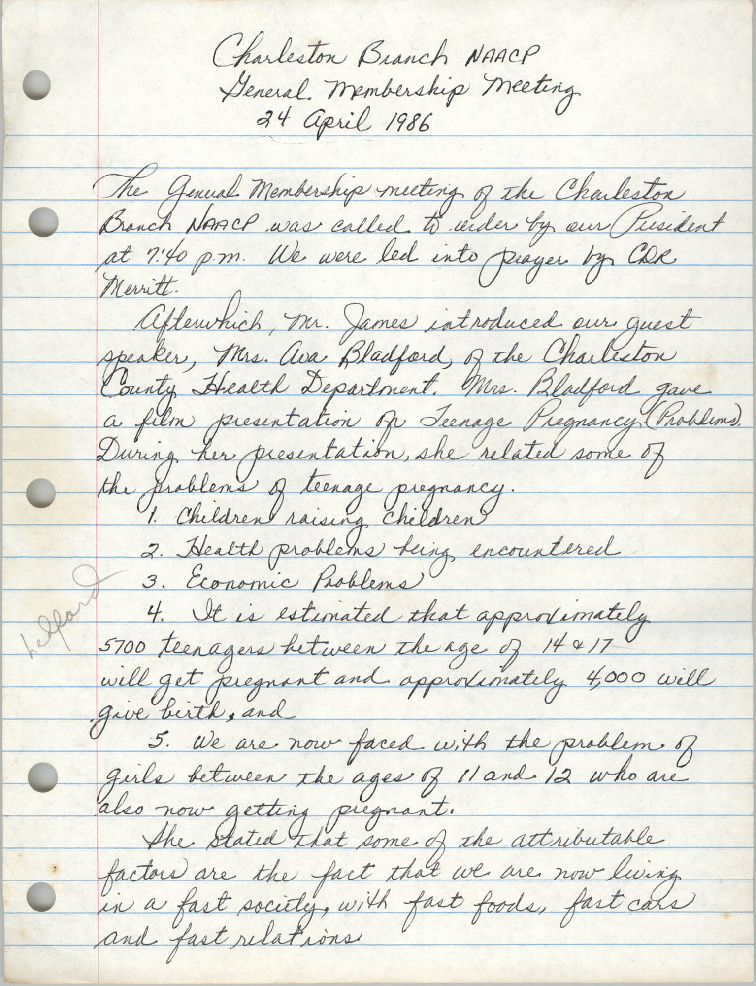 Minutes, Charleston Branch of the NAACP, General Membership Meeting, April 24, 1986, Page 1