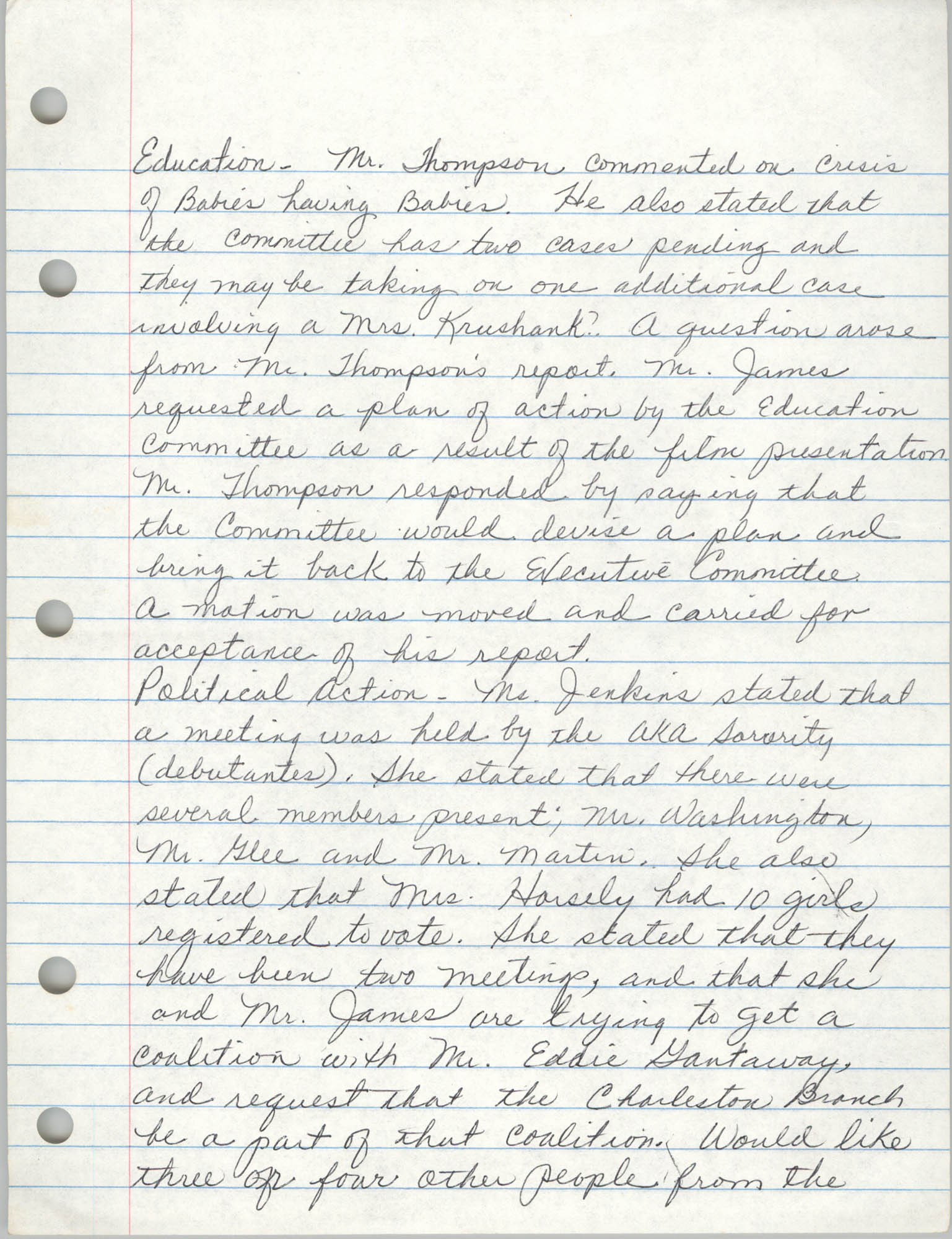 Minutes, Charleston Branch of the NAACP, General Membership Meeting, April 24, 1986, Page 6