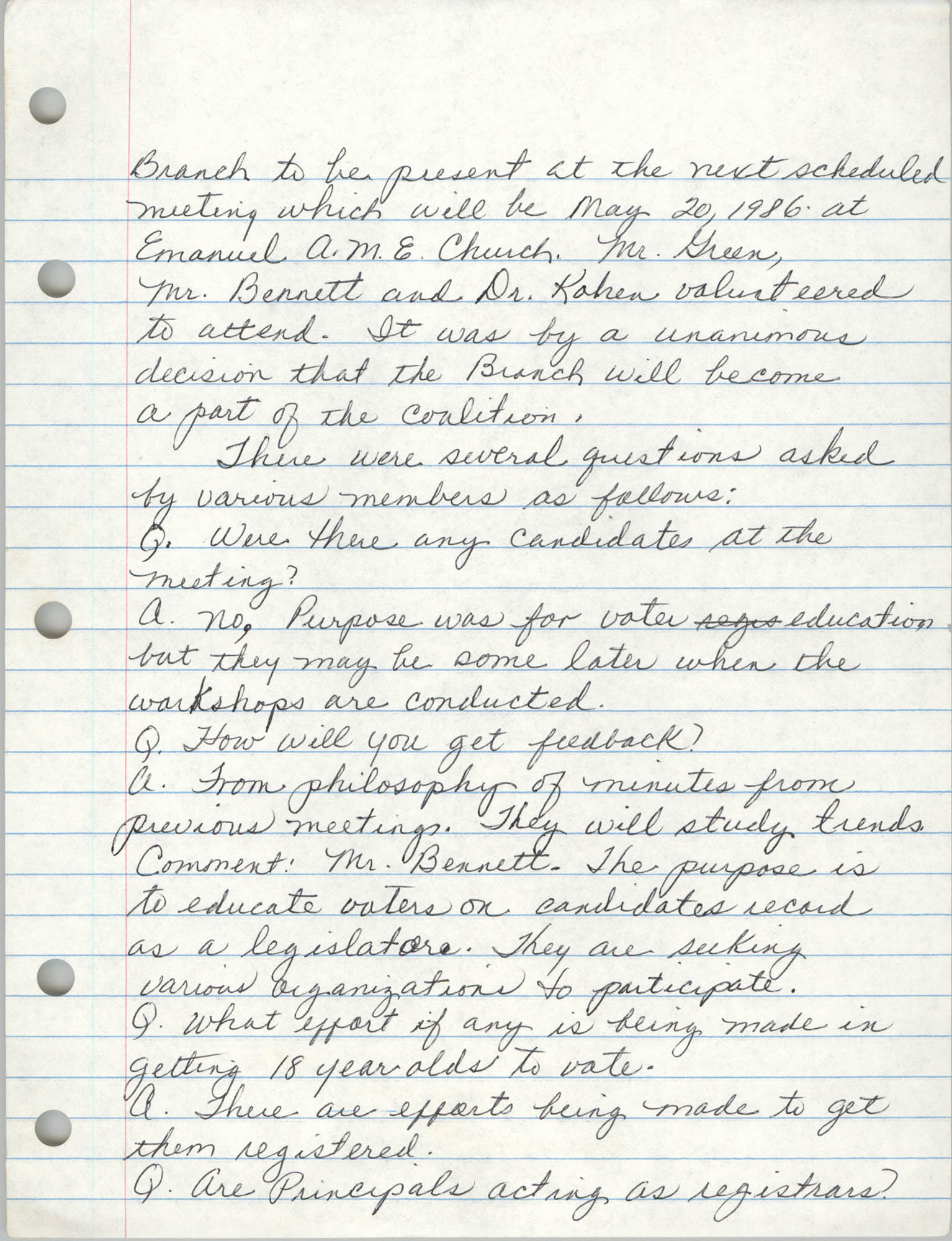 Minutes, Charleston Branch of the NAACP, General Membership Meeting, April 24, 1986, Page 7