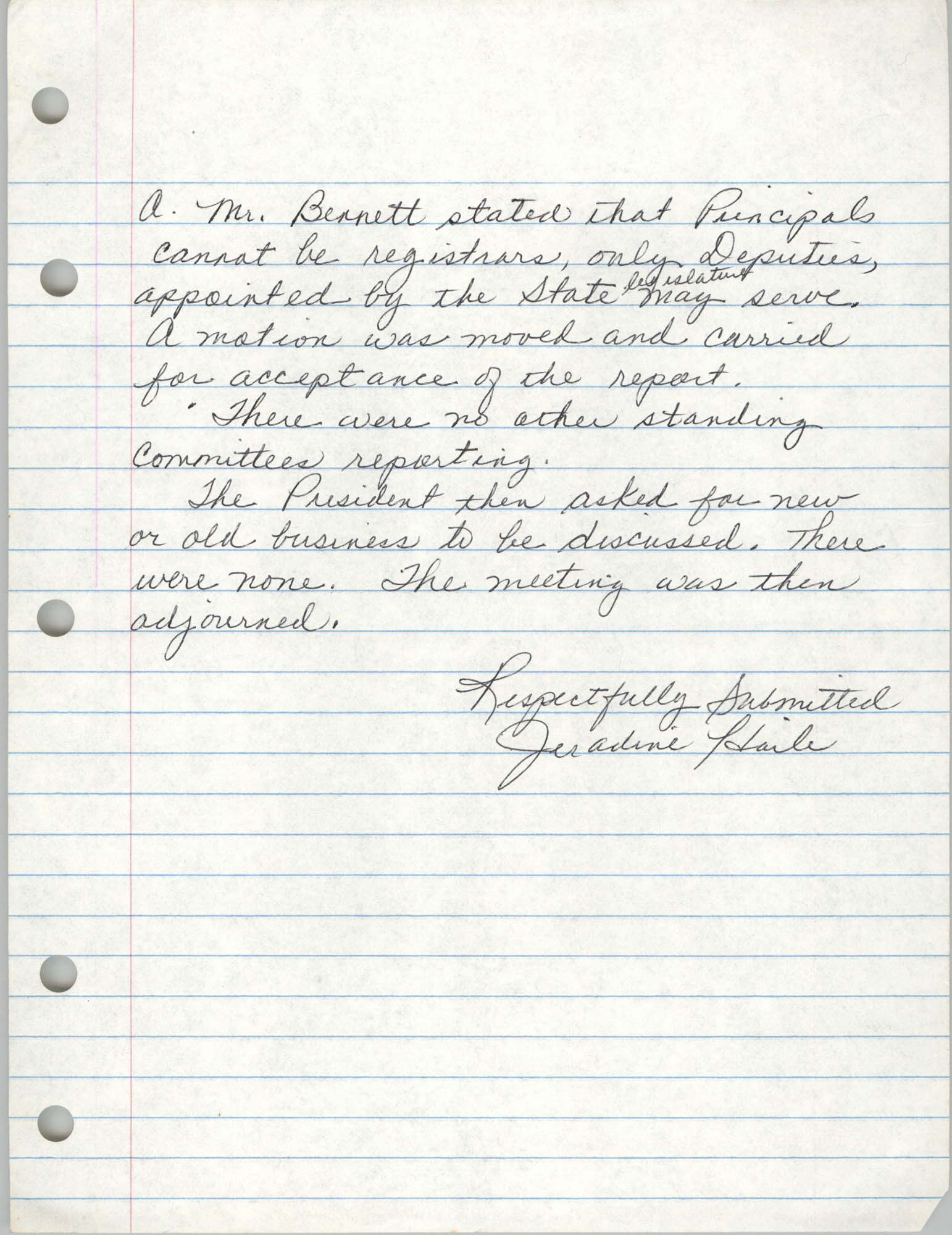 Minutes, Charleston Branch of the NAACP, General Membership Meeting, April 24, 1986, Page 8