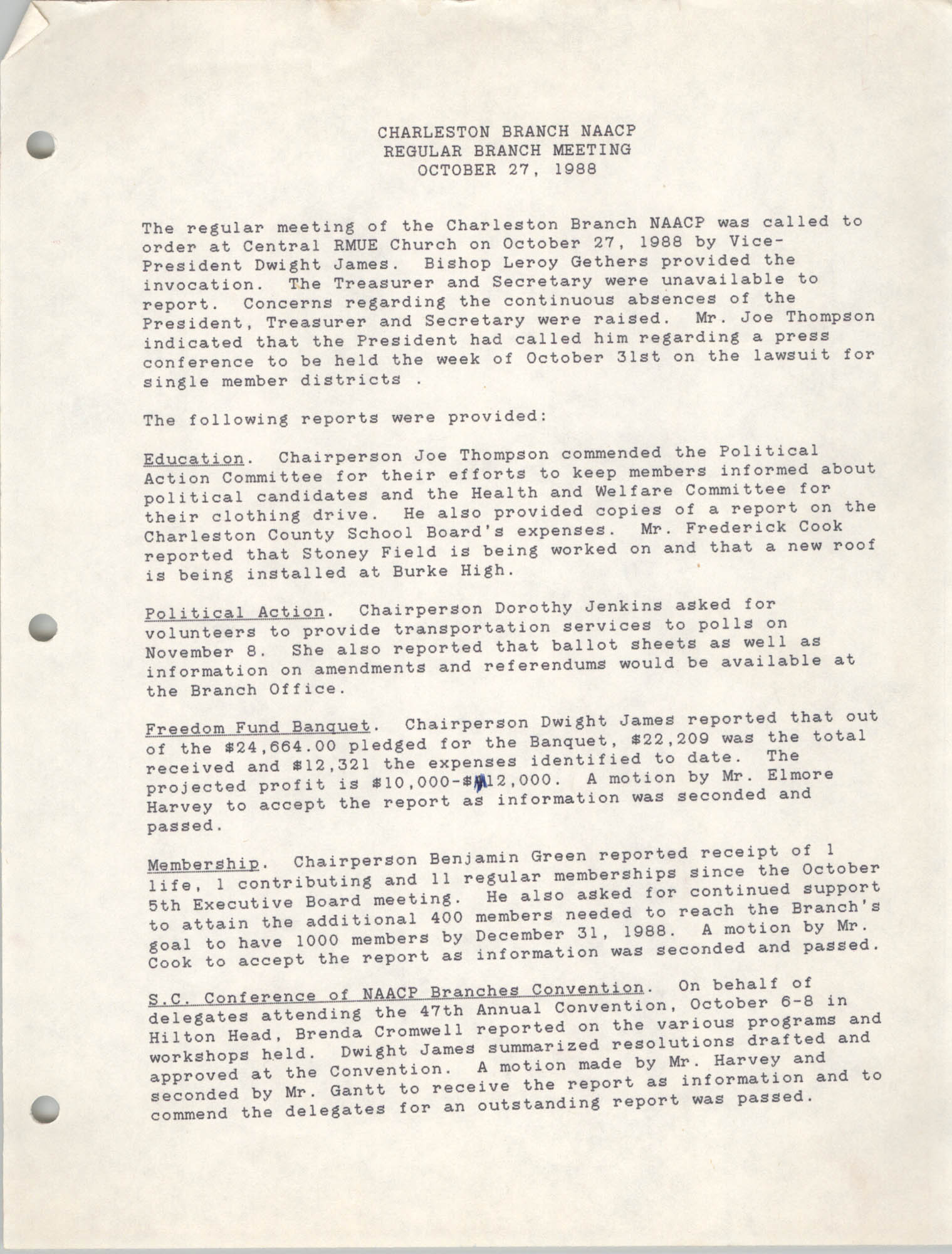 Minutes, Charleston Branch of the NAACP, Regular Branch Meeting, October 27, 1988, Page 1