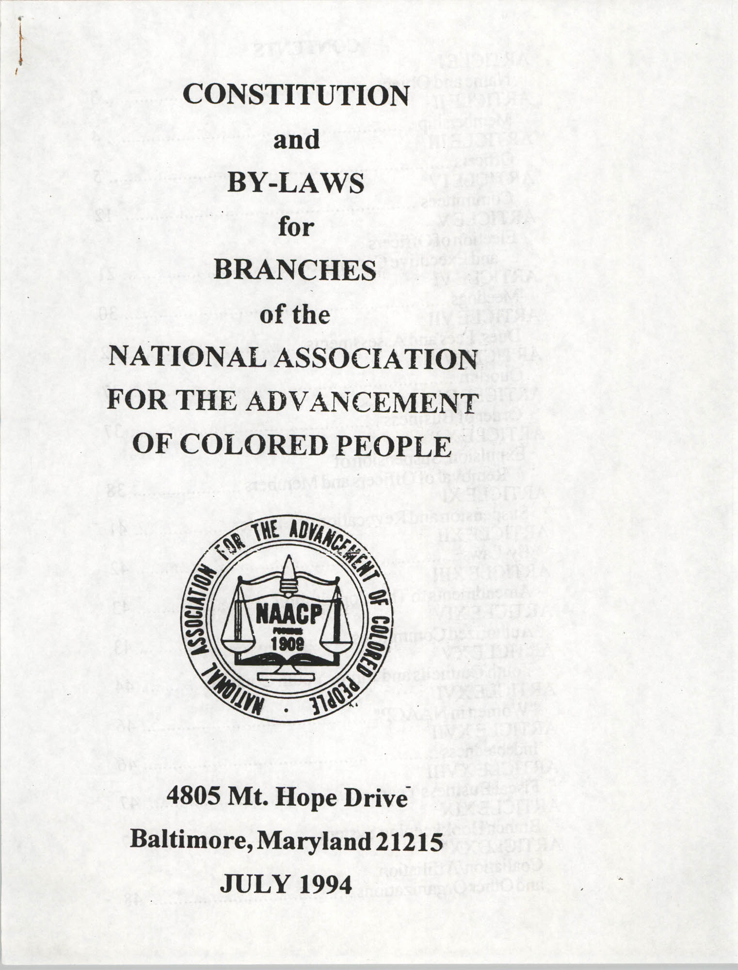 Constitution and By-Laws for Branches of the NAACP, July 1994, Cover