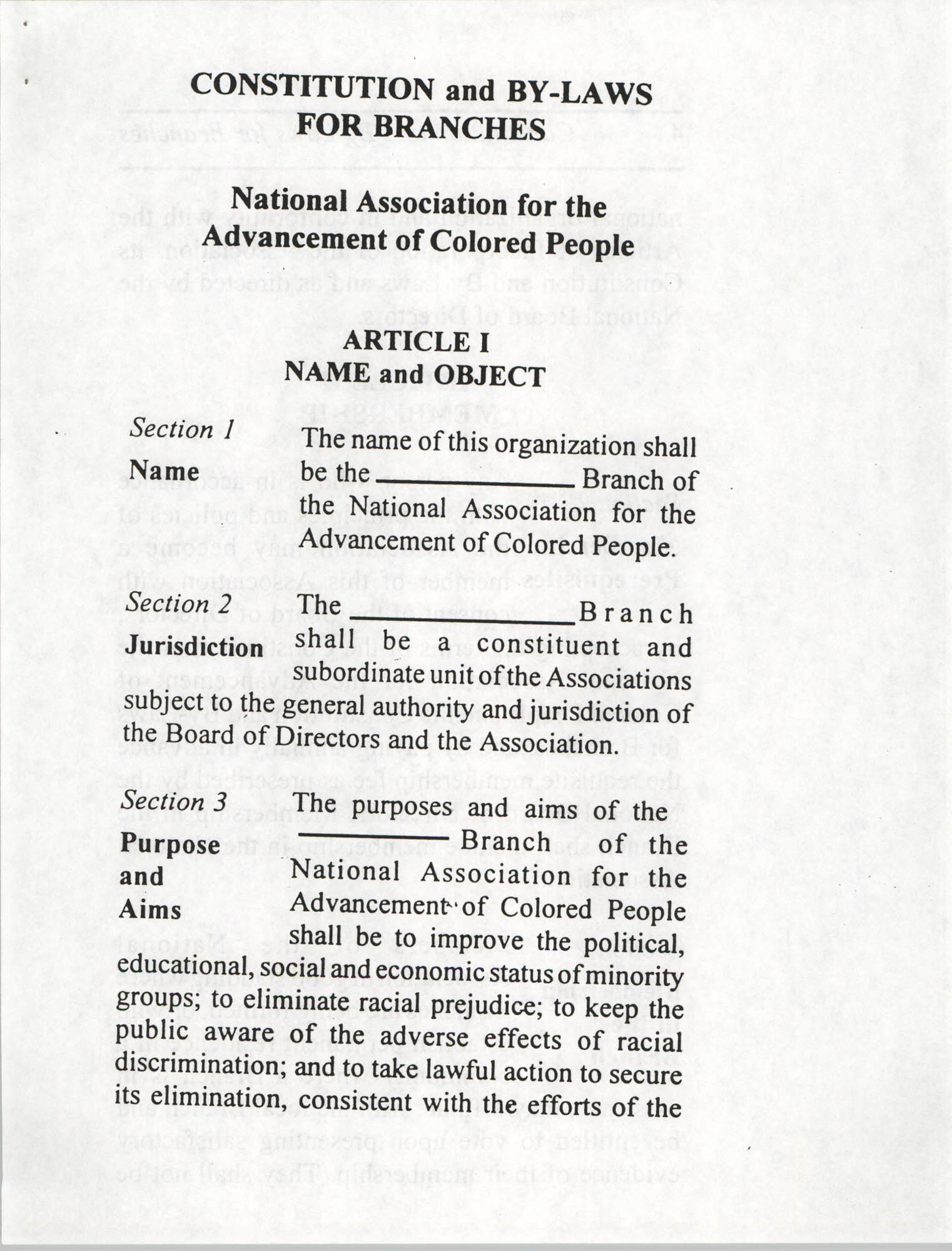 Constitution and By-Laws for Branches of the NAACP, July 1994, Page 3