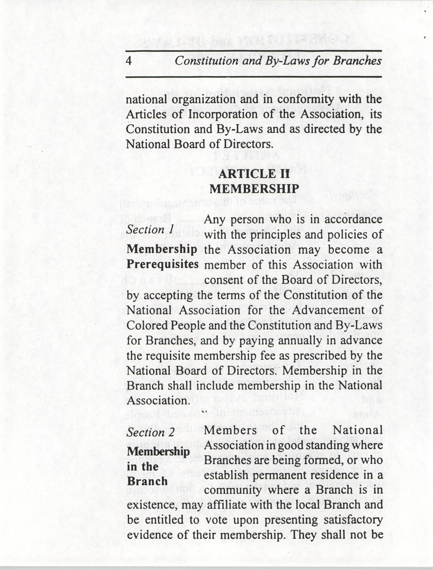 Constitution and By-Laws for Branches of the NAACP, July 1994, Page 4