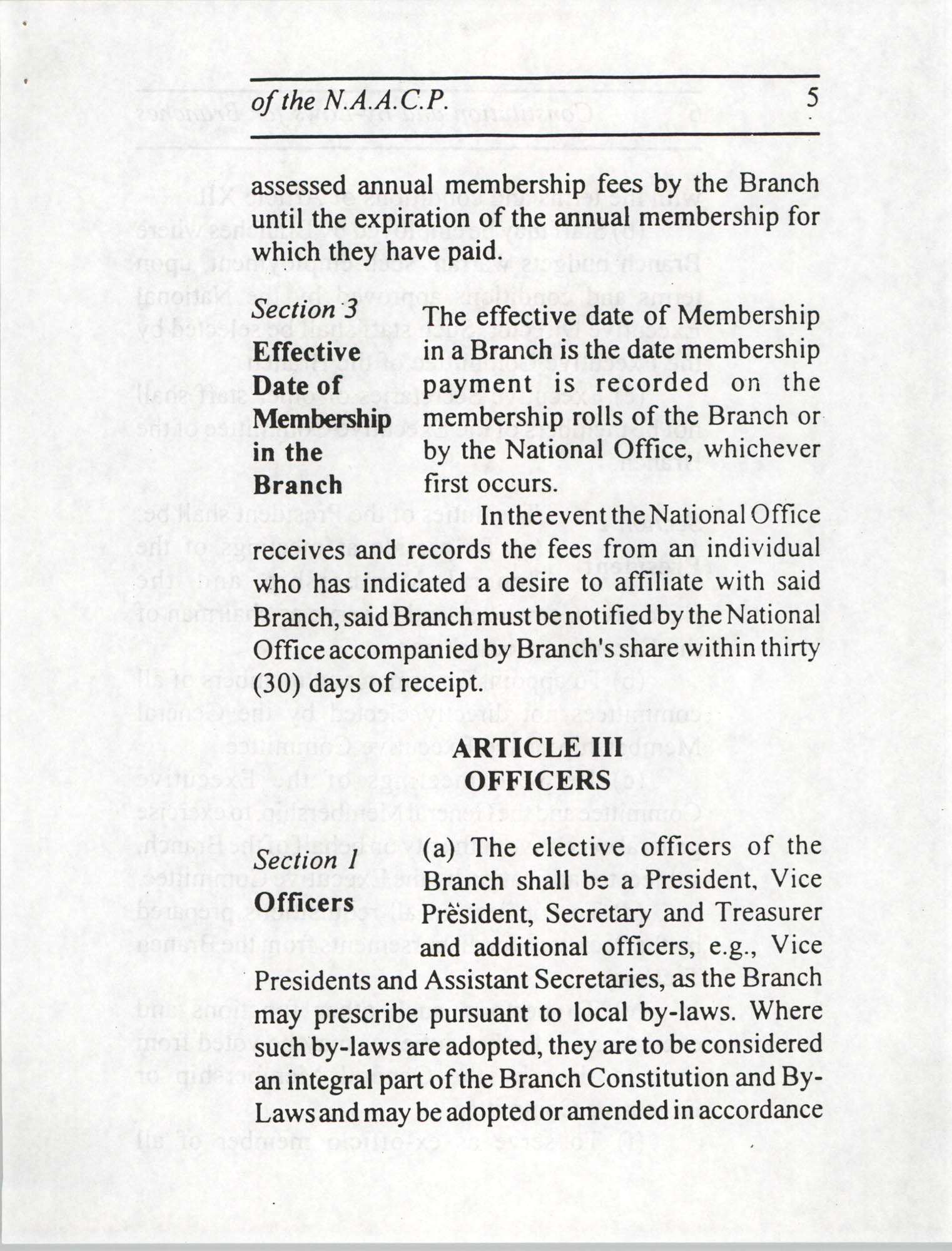 Constitution and By-Laws for Branches of the NAACP, July 1994, Page 5