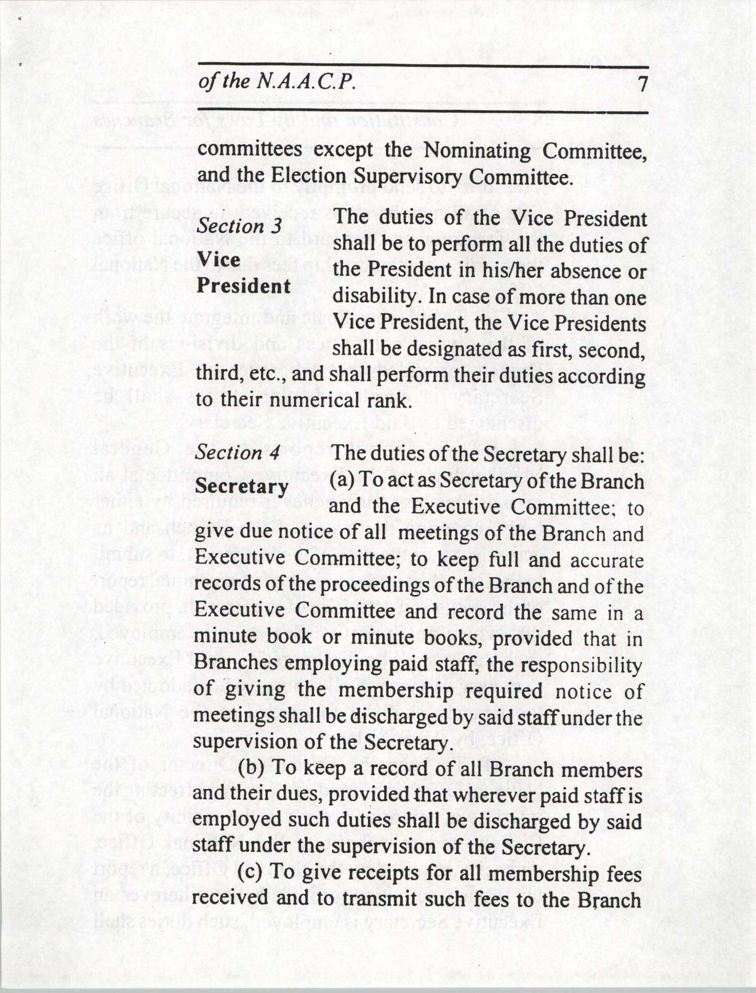 Constitution and By-Laws for Branches of the NAACP, July 1994, Page 7