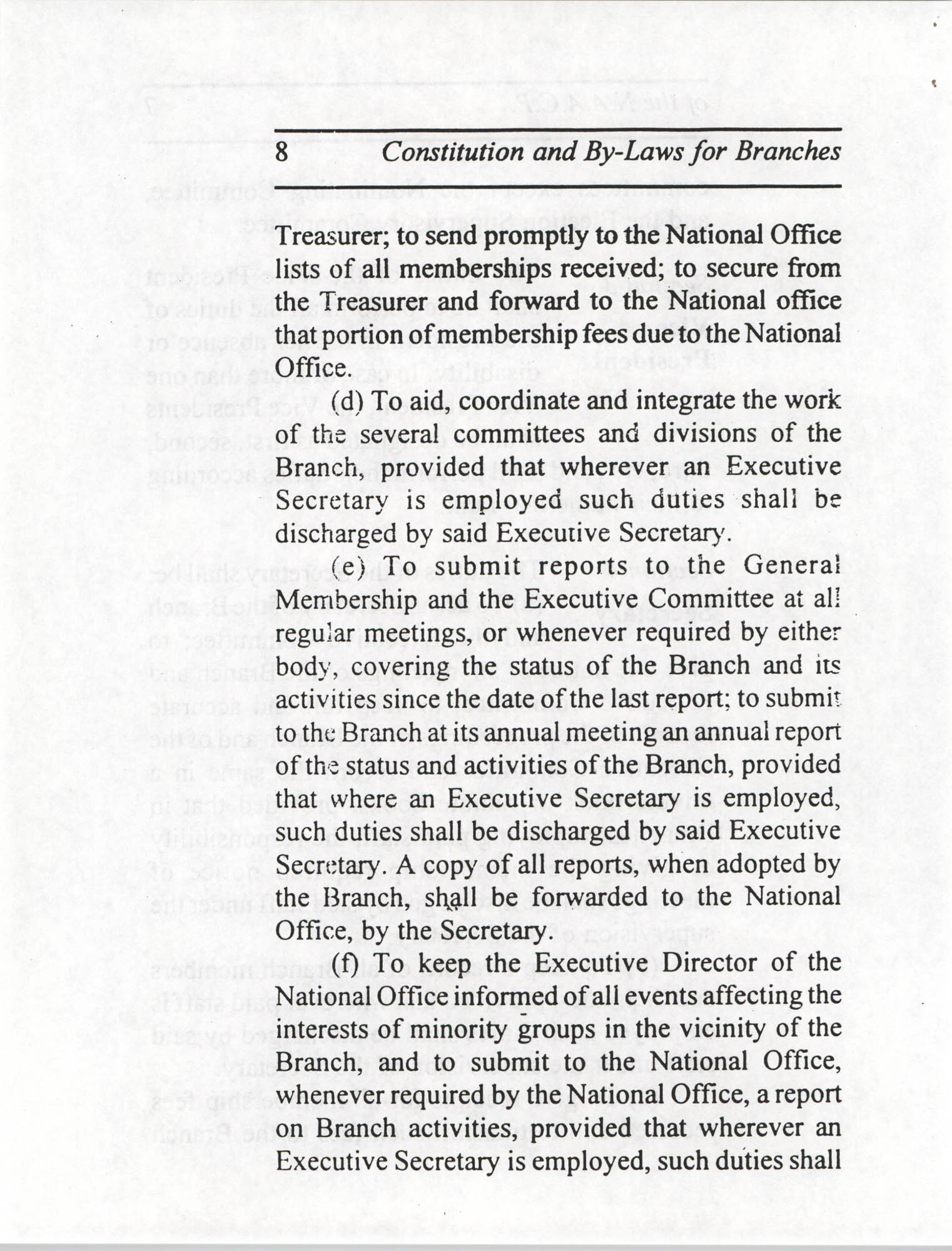 Constitution and By-Laws for Branches of the NAACP, July 1994, Page 8