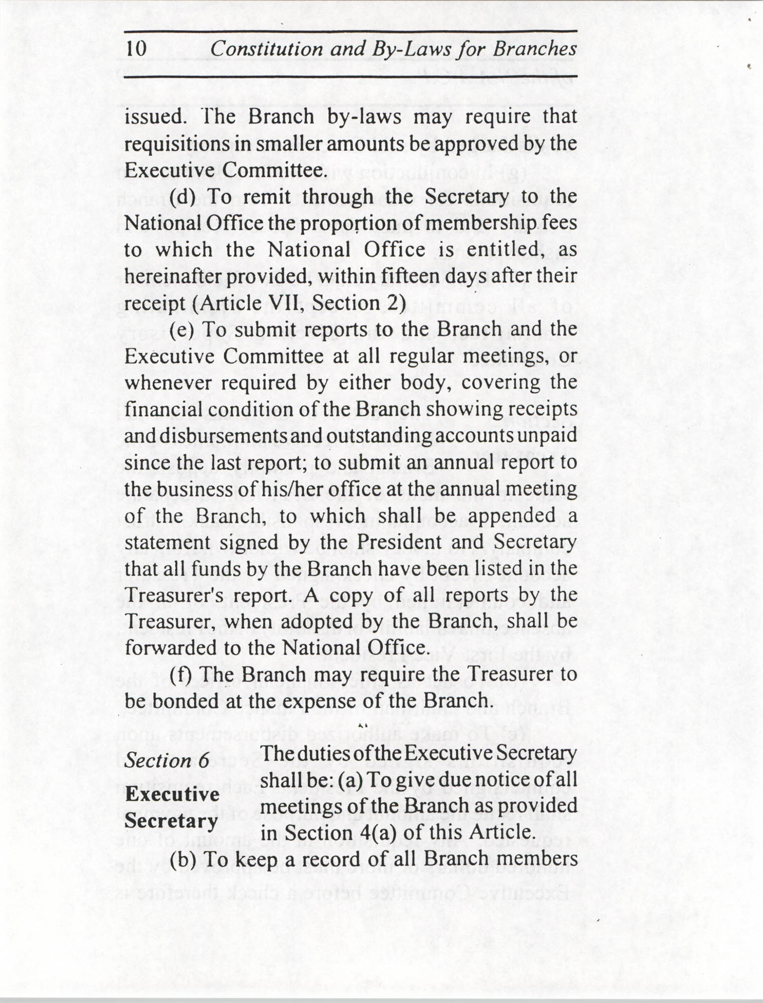 Constitution and By-Laws for Branches of the NAACP, July 1994, Page 10