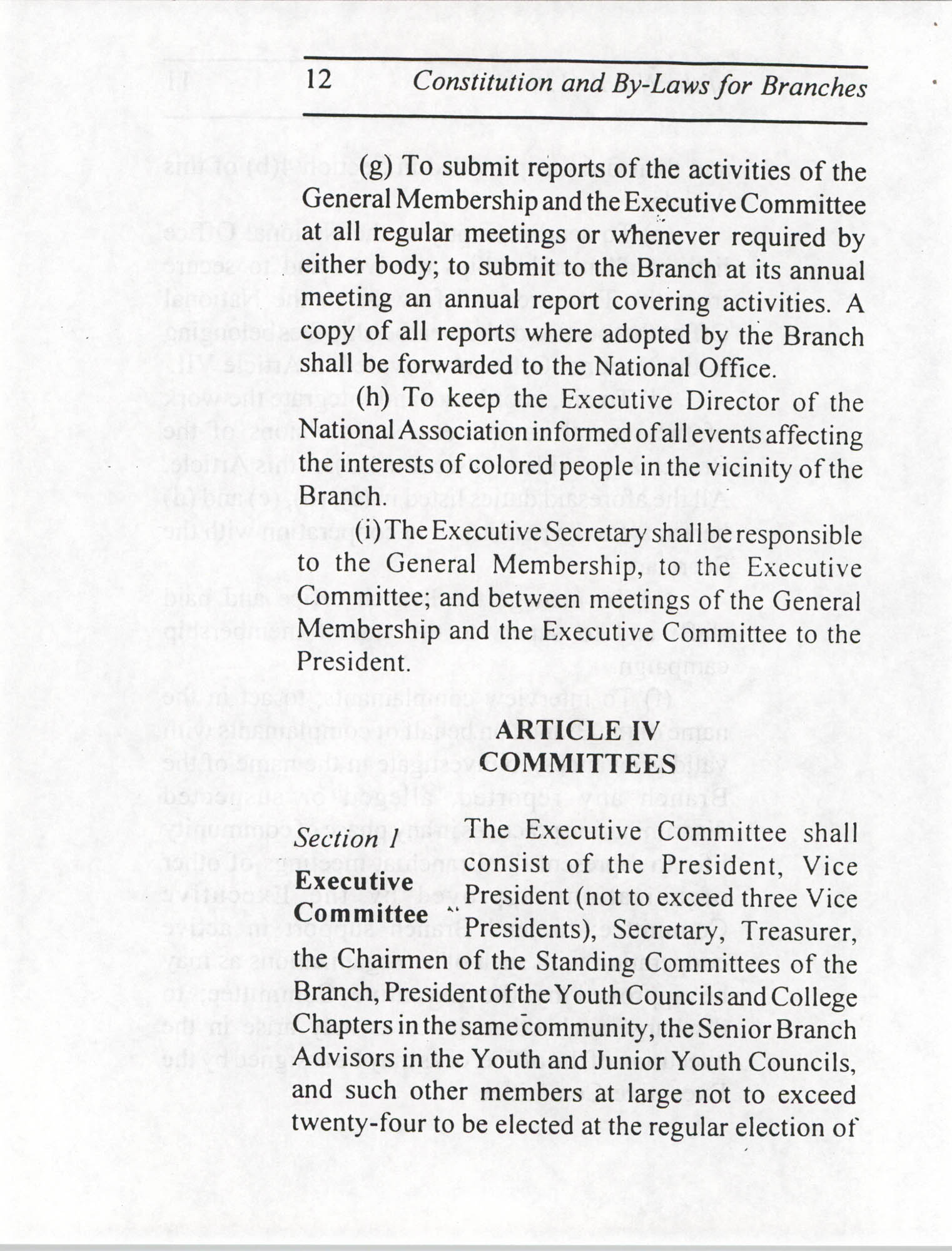 Constitution and By-Laws for Branches of the NAACP, July 1994, Page 12