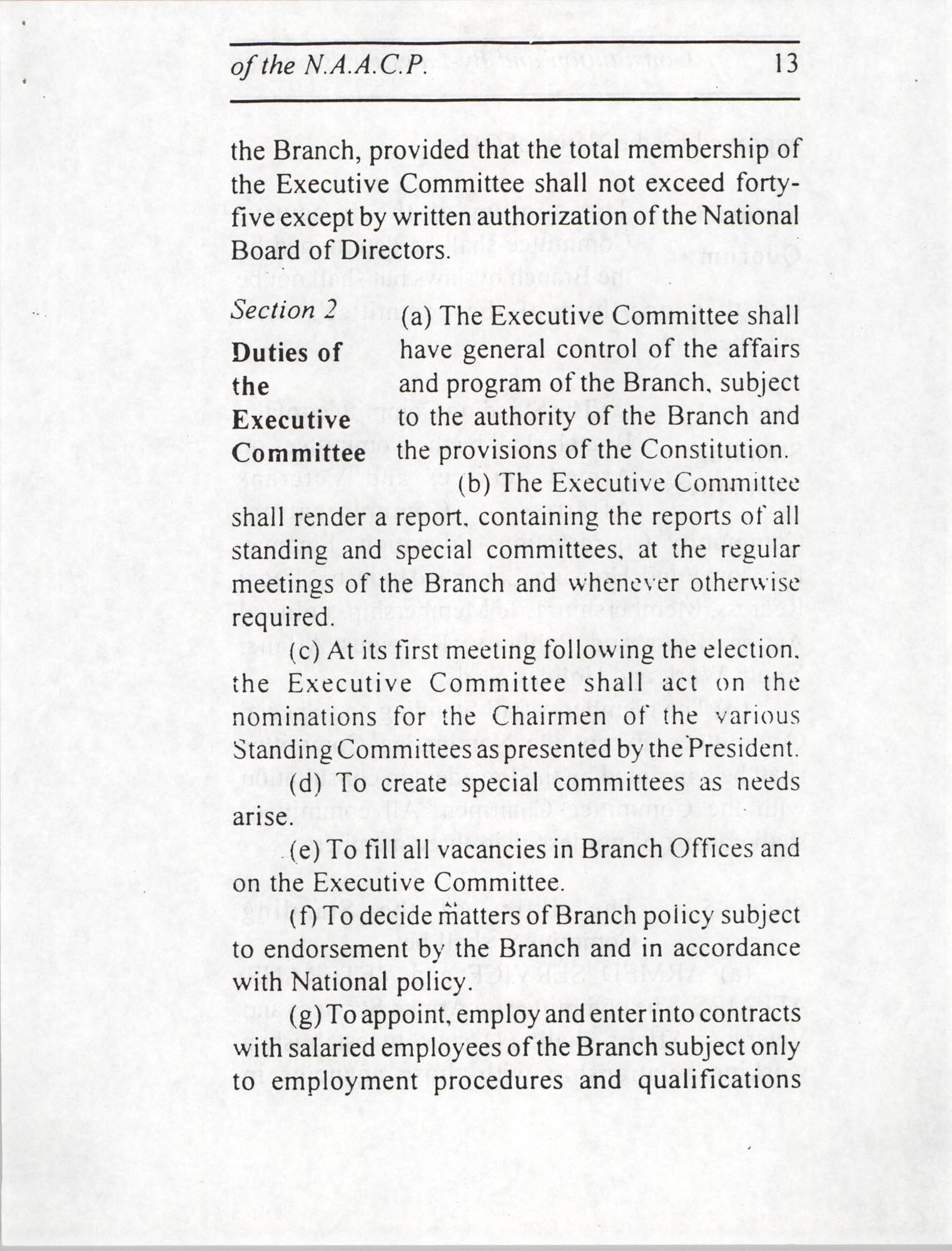 Constitution and By-Laws for Branches of the NAACP, July 1994, Page 13