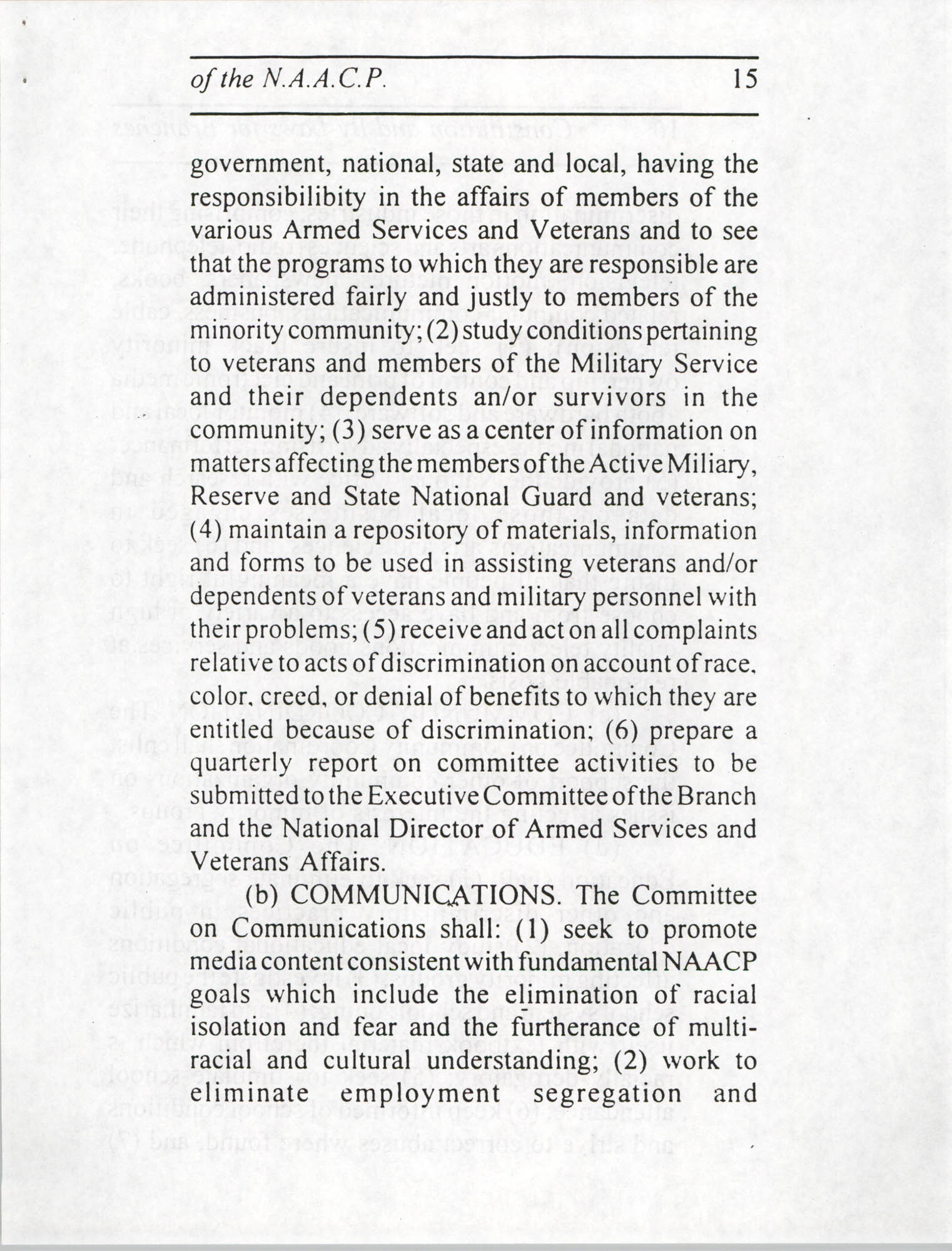Constitution and By-Laws for Branches of the NAACP, July 1994, Page 15