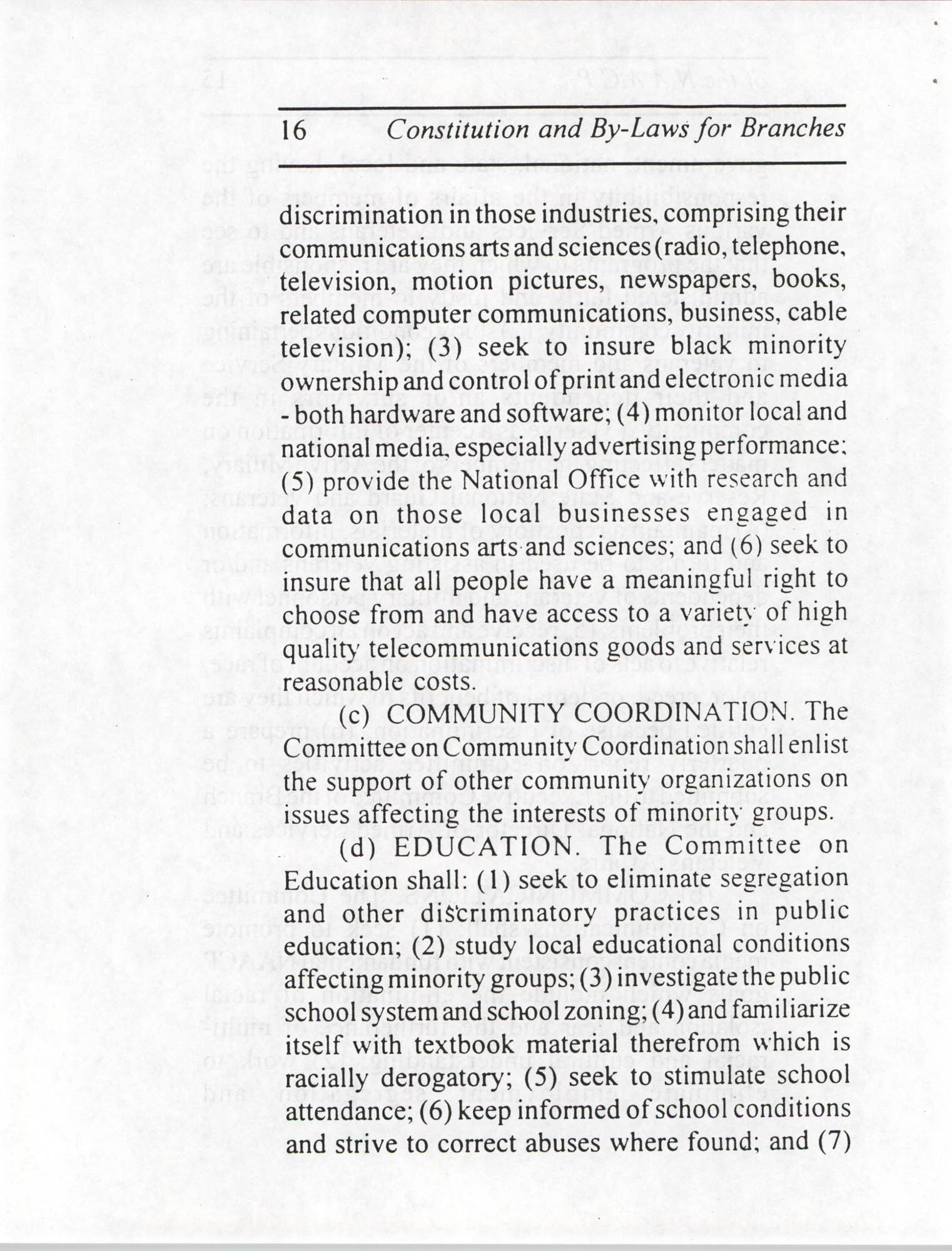 Constitution and By-Laws for Branches of the NAACP, July 1994, Page 16