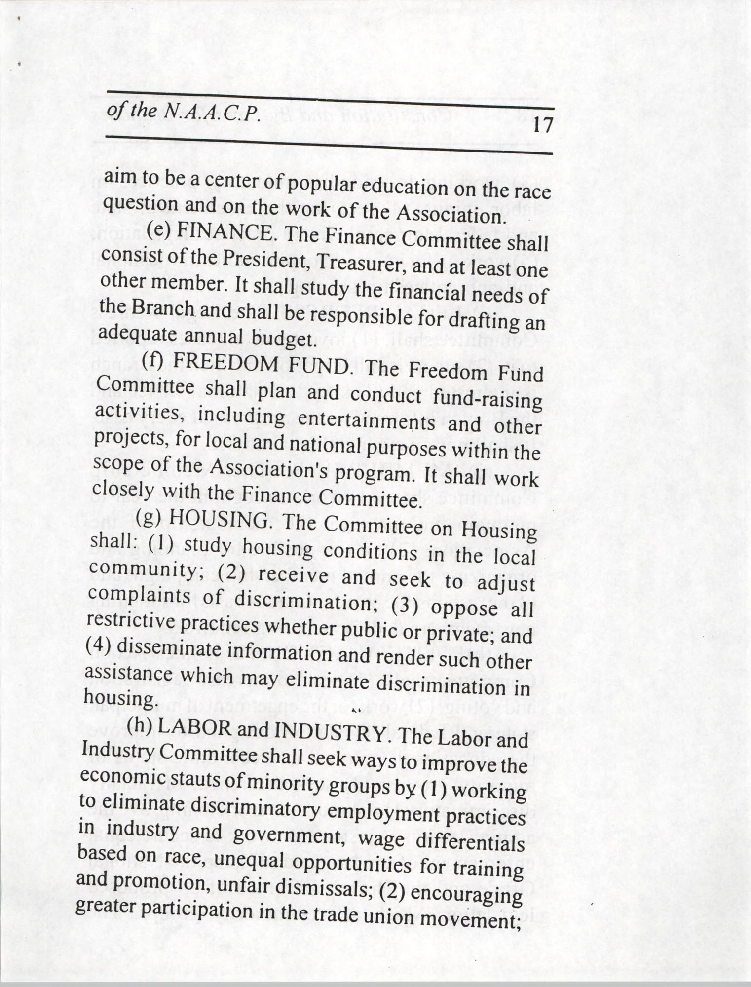 Constitution and By-Laws for Branches of the NAACP, July 1994, Page 17