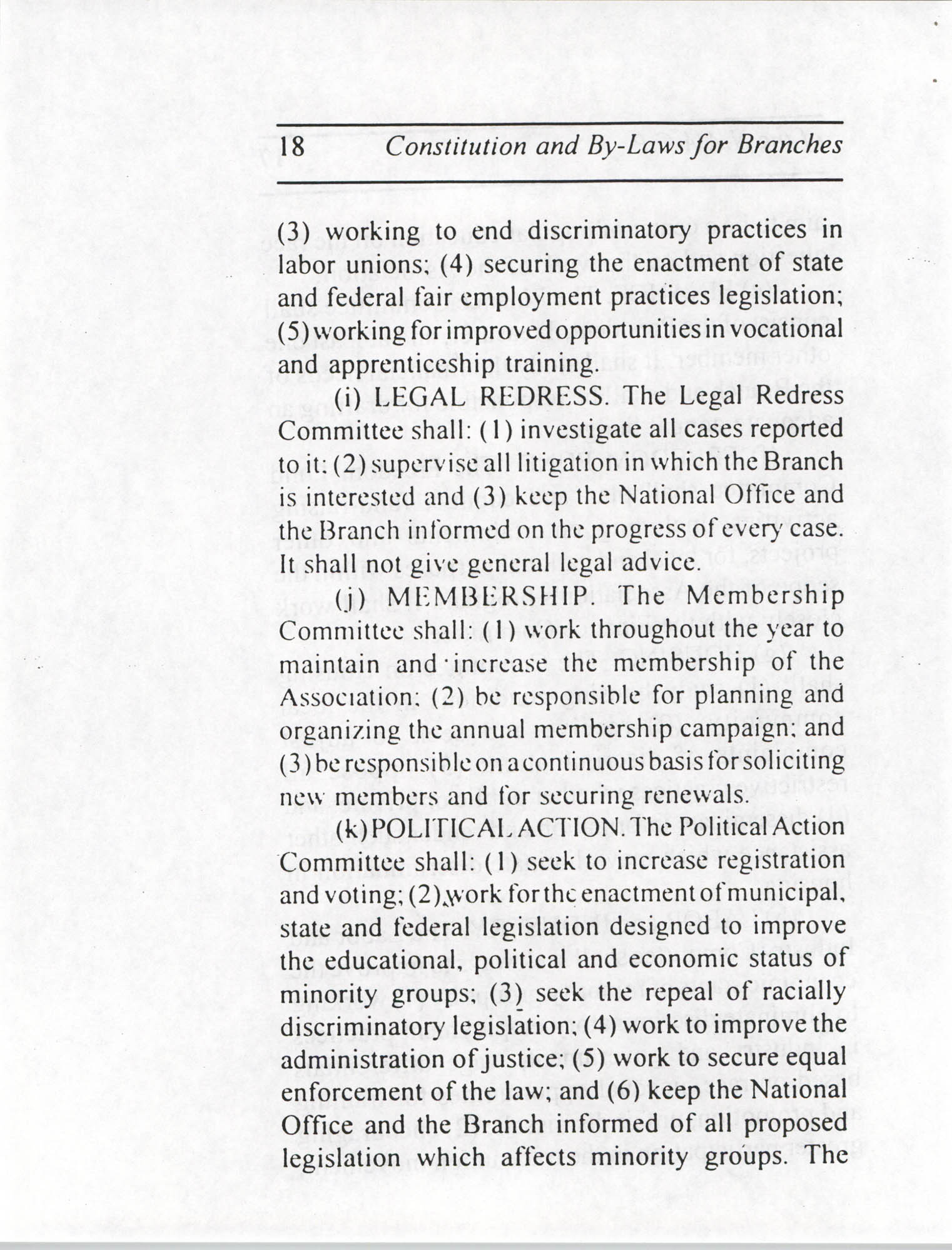 Constitution and By-Laws for Branches of the NAACP, July 1994, Page 18