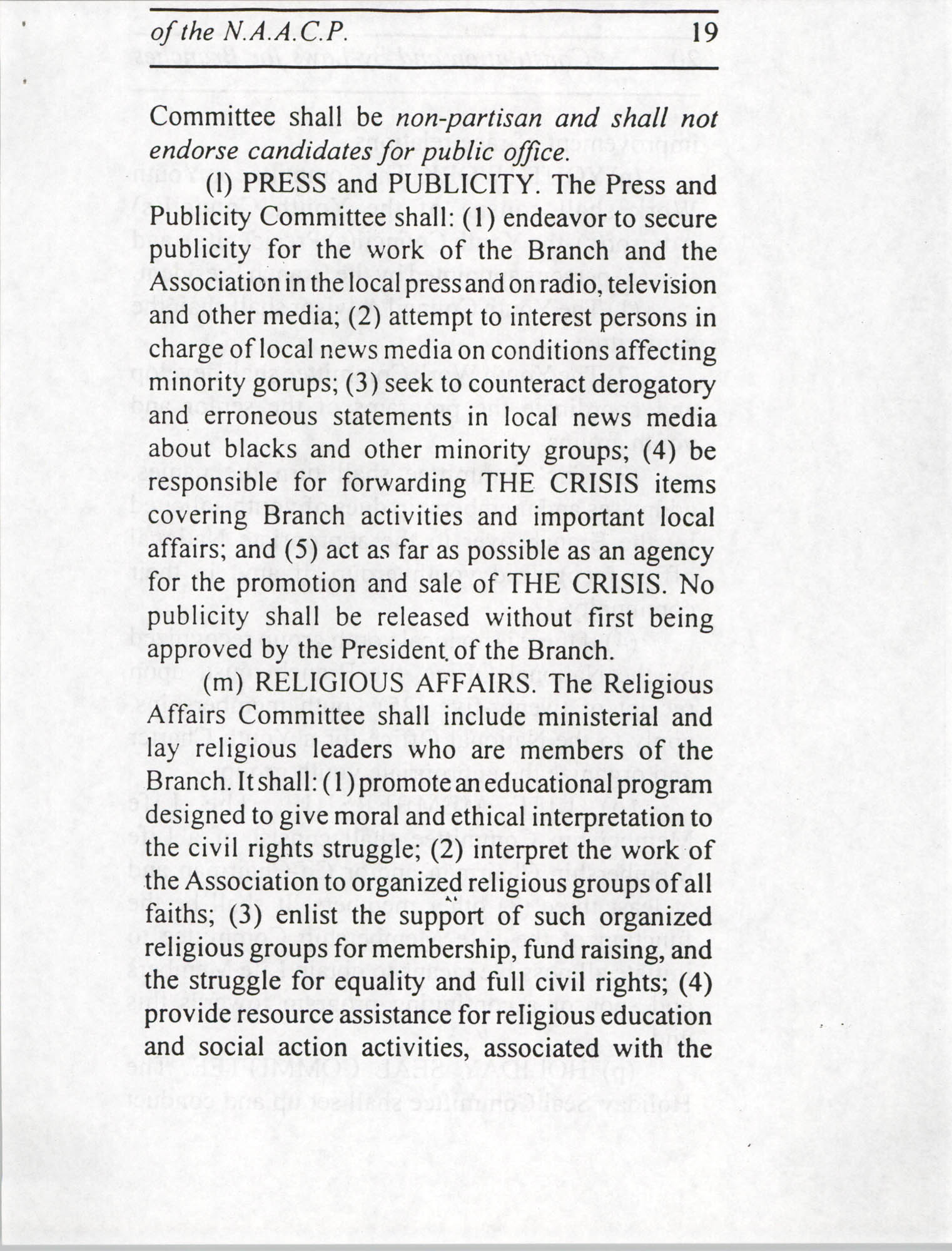 Constitution and By-Laws for Branches of the NAACP, July 1994, Page 19