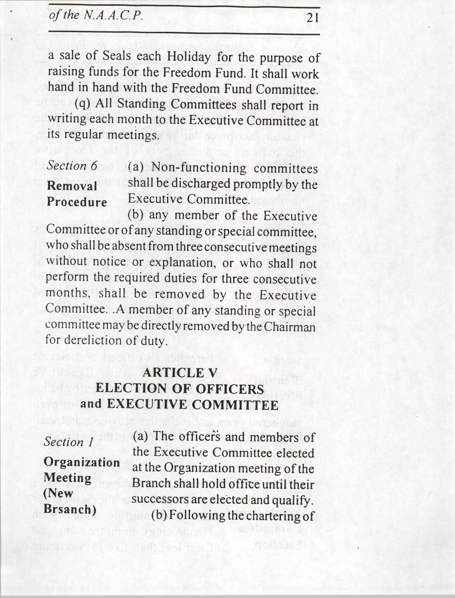 Constitution and By-Laws for Branches of the NAACP, July 1994, Page 21