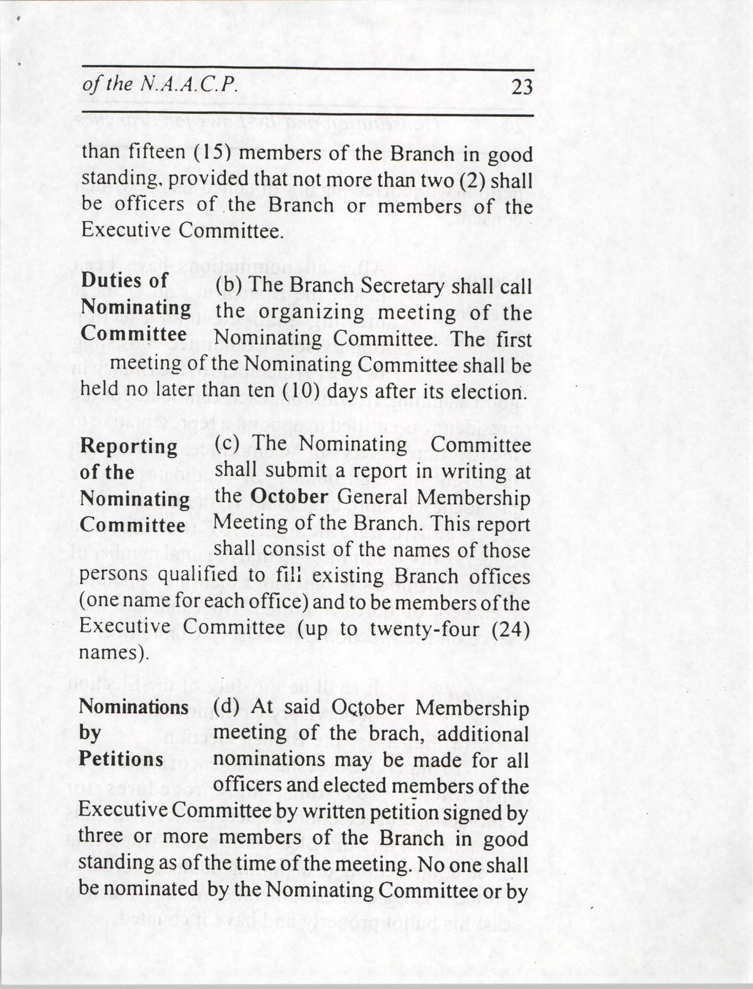 Constitution and By-Laws for Branches of the NAACP, July 1994, Page 23