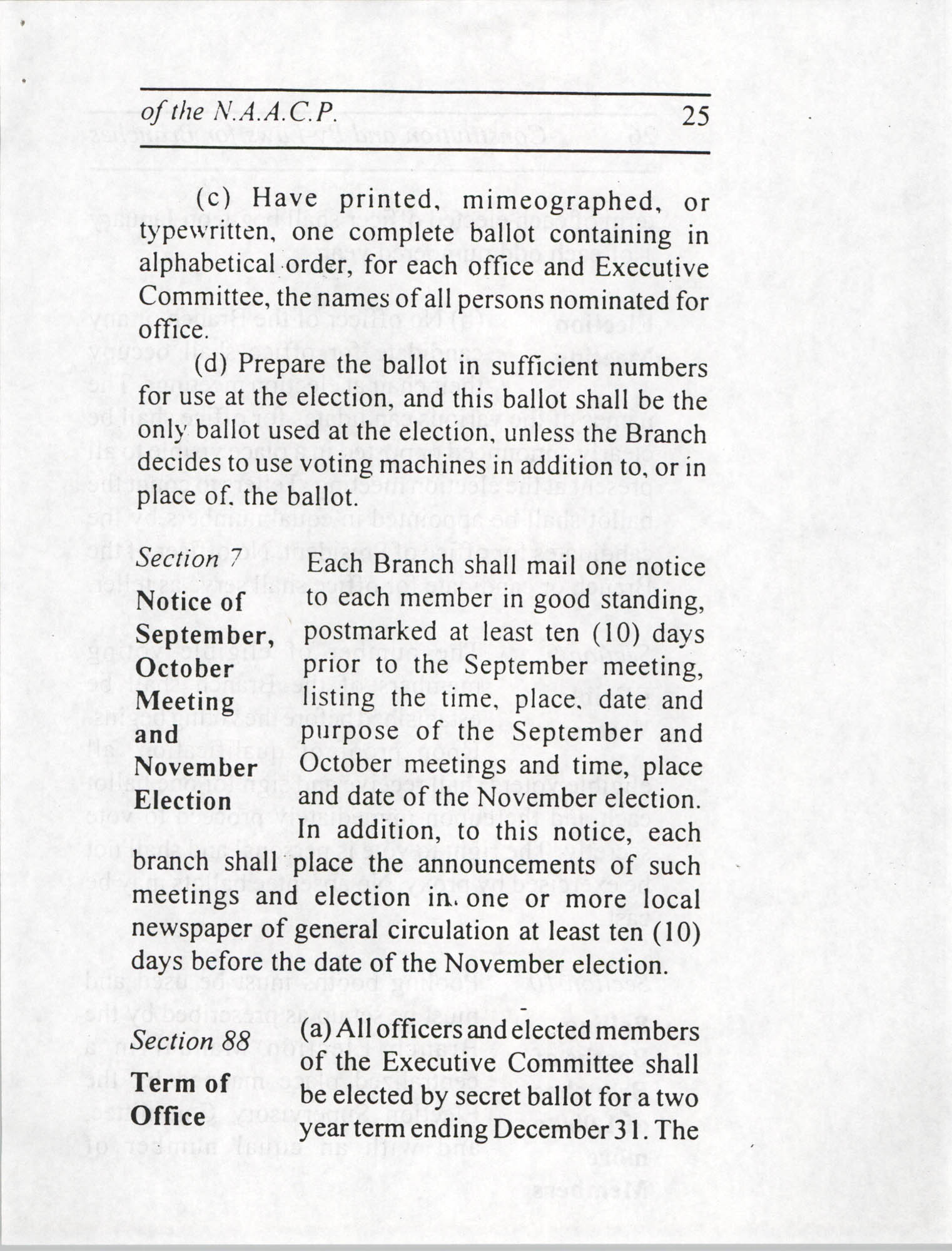 Constitution and By-Laws for Branches of the NAACP, July 1994, Page 25