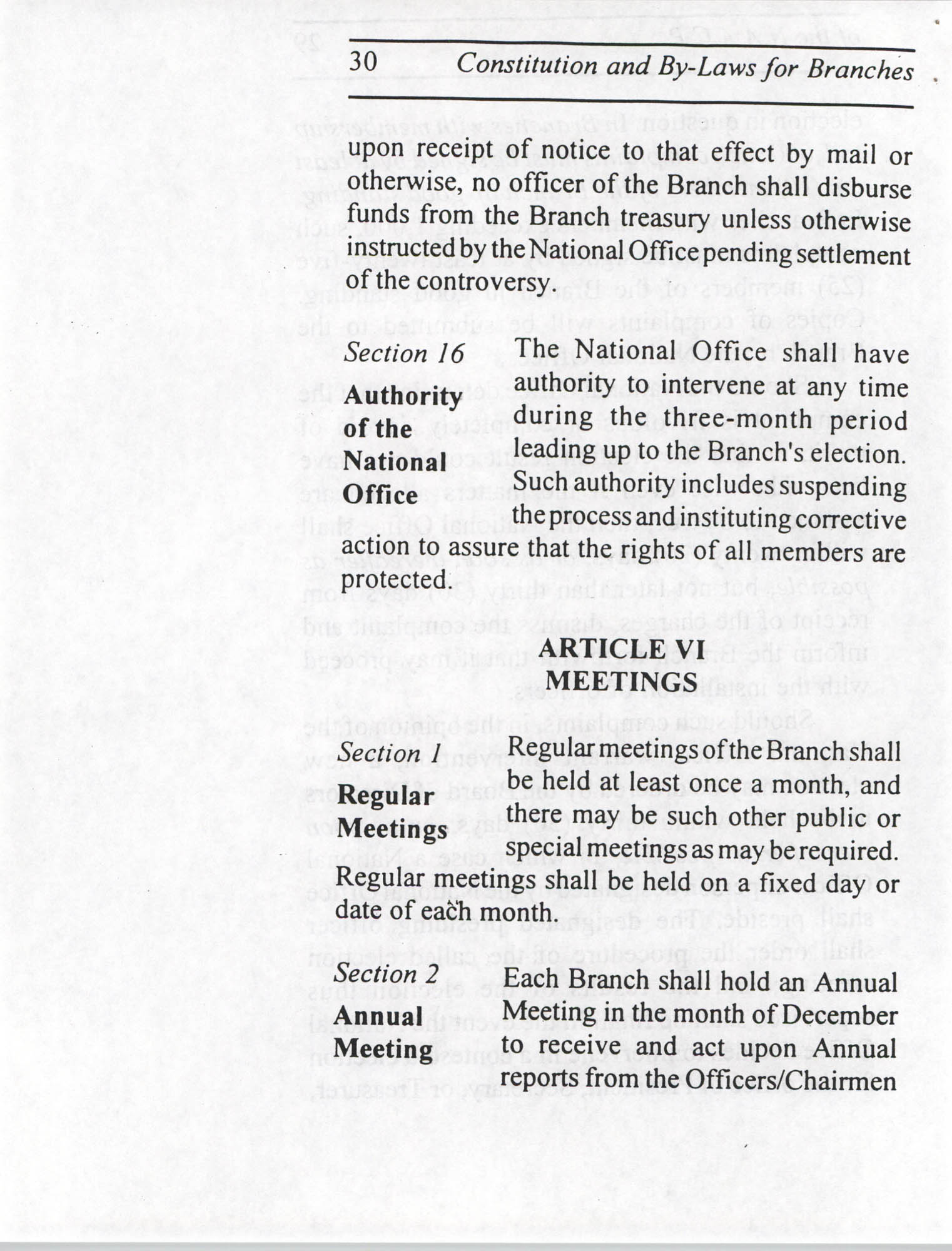 Constitution and By-Laws for Branches of the NAACP, July 1994, Page 30