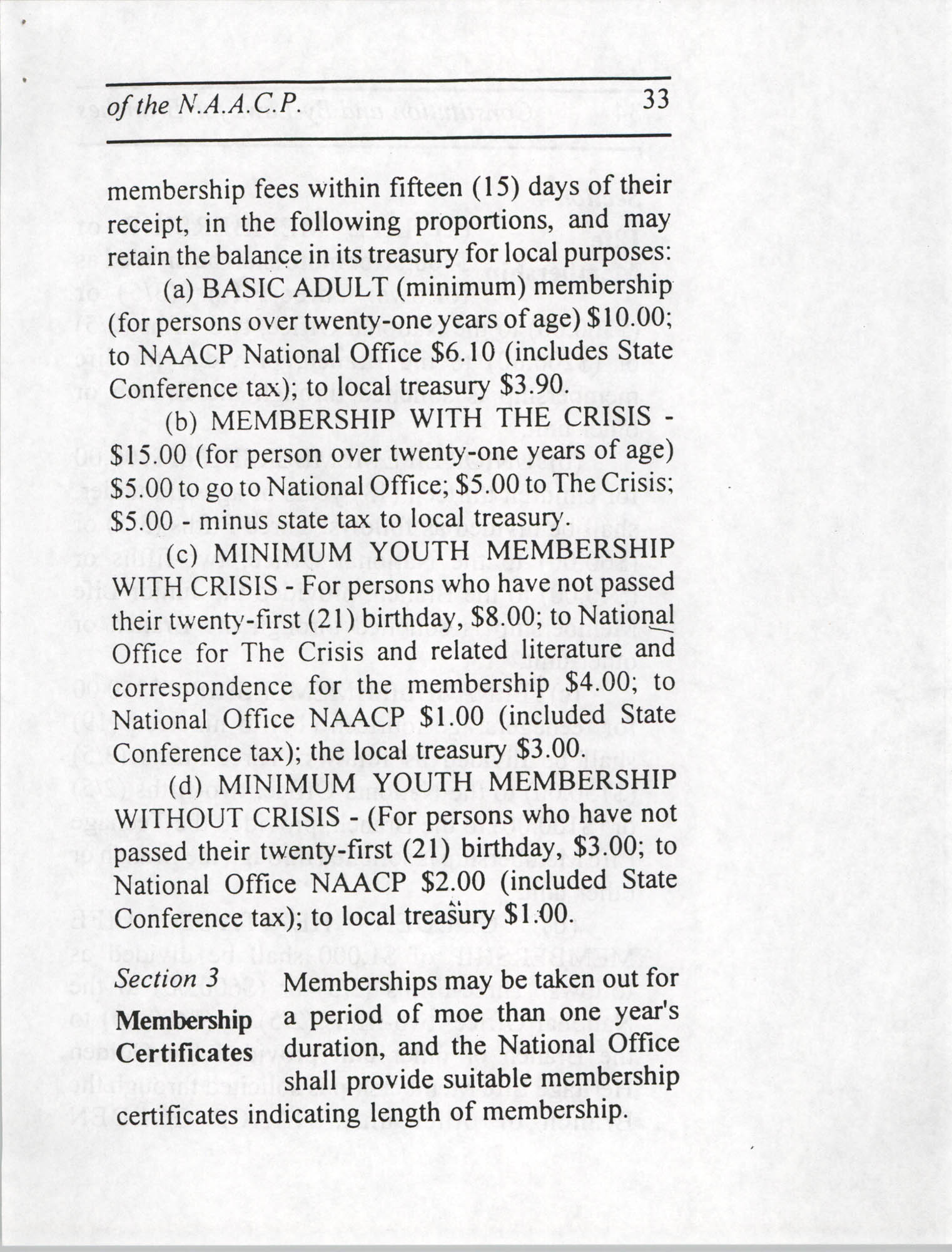 Constitution and By-Laws for Branches of the NAACP, July 1994, Page 33