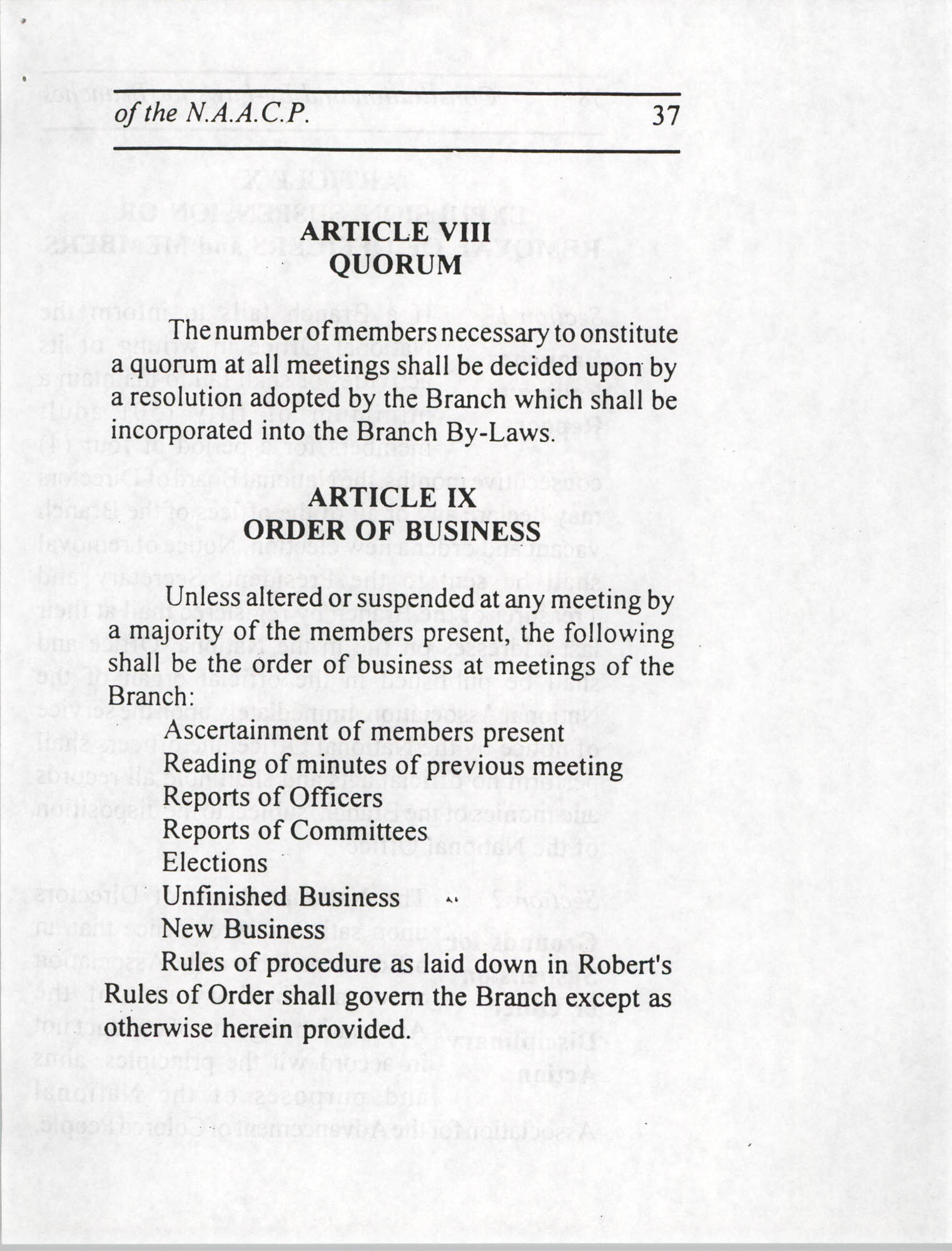 Constitution and By-Laws for Branches of the NAACP, July 1994, Page 37
