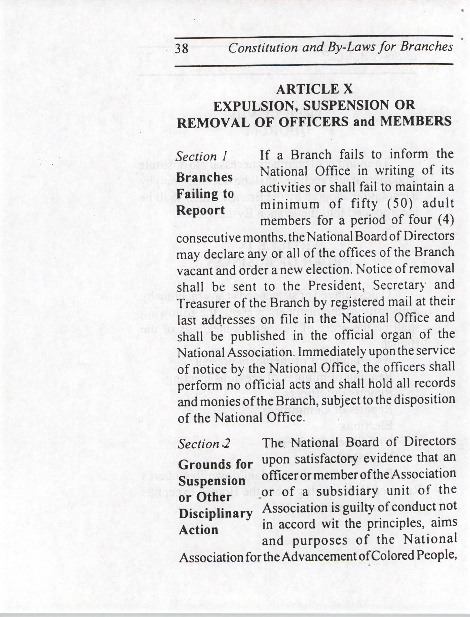 Constitution and By-Laws for Branches of the NAACP, July 1994, Page 38