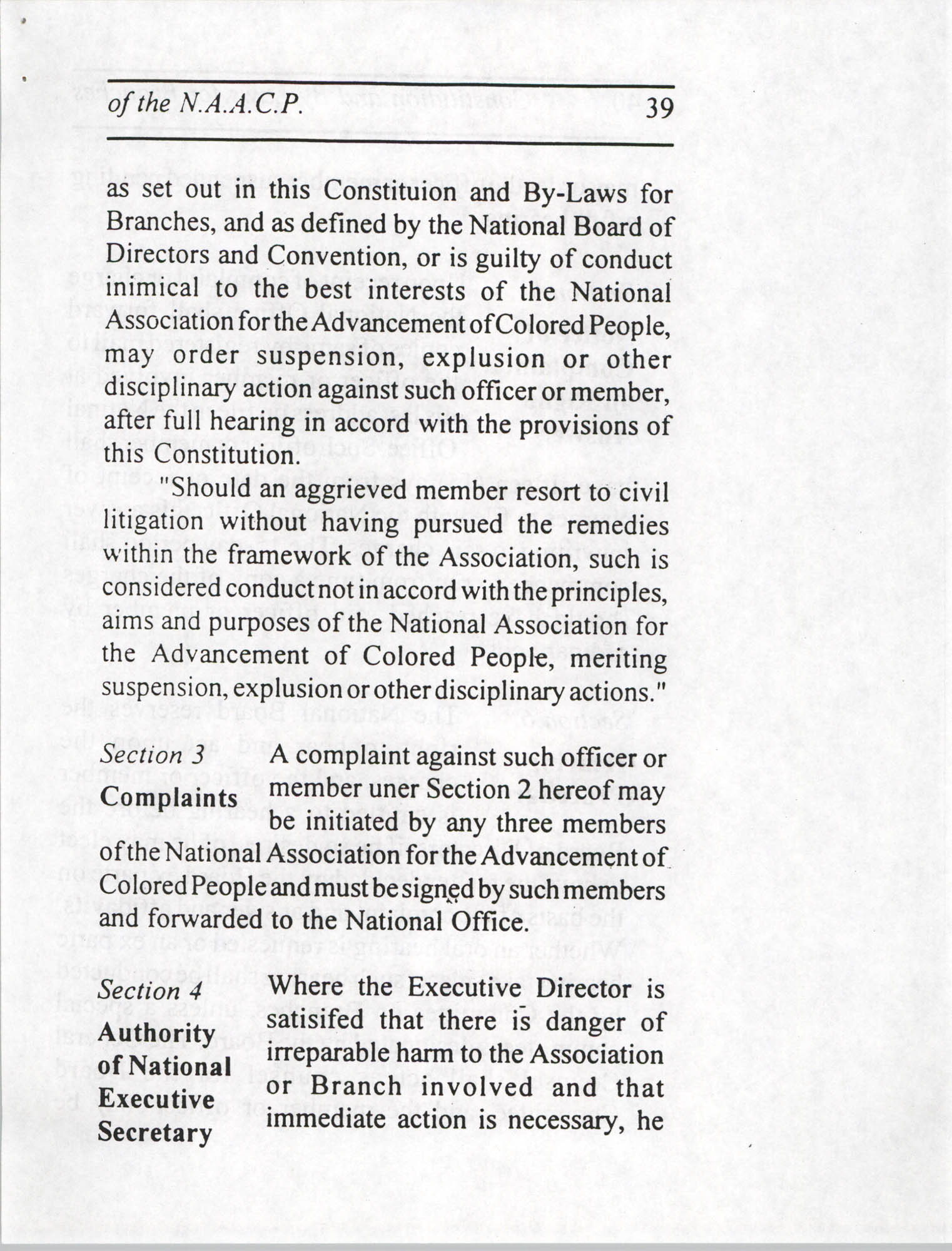 Constitution and By-Laws for Branches of the NAACP, July 1994, Page 39