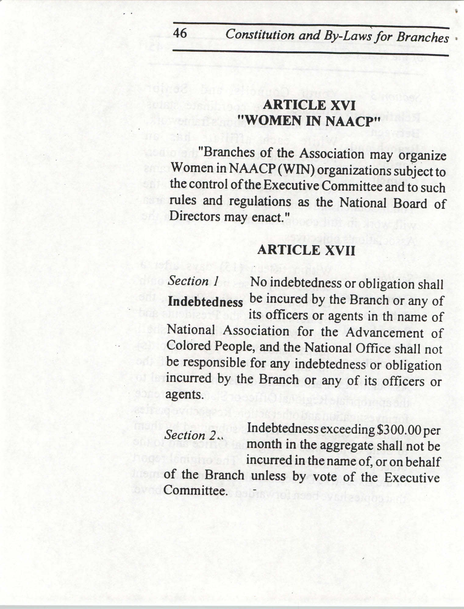 Constitution and By-Laws for Branches of the NAACP, July 1994, Page 46