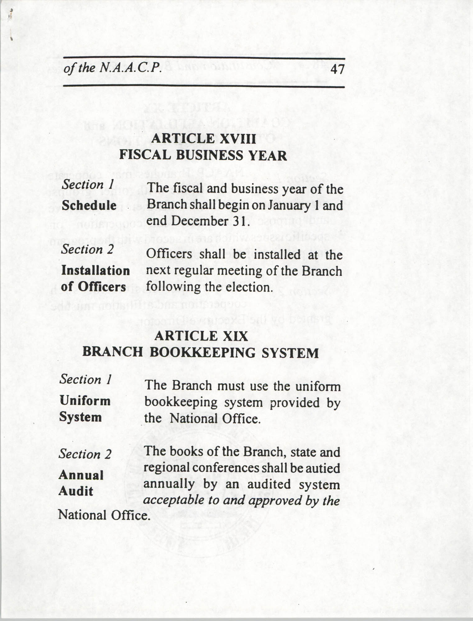 Constitution and By-Laws for Branches of the NAACP, July 1994, Page 47