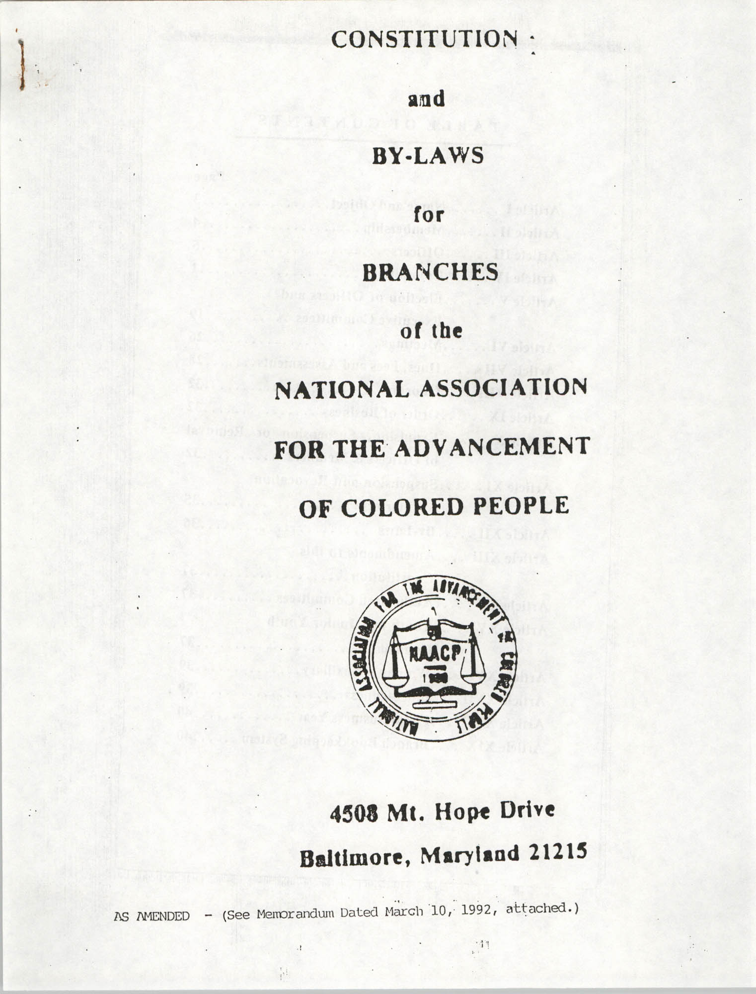 Constitution and By-Laws for Branches of the NAACP, March 1992, Cover