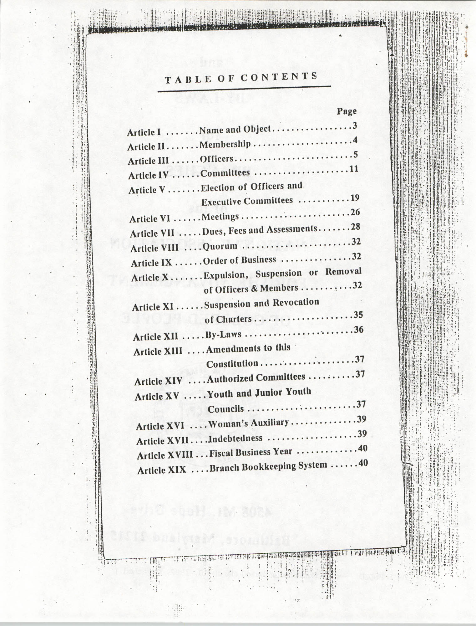 Constitution and By-Laws for Branches of the NAACP, March 1992, Table of Contents