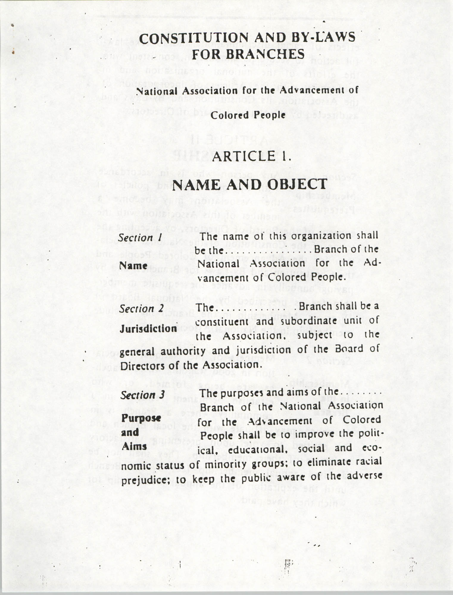 Constitution and By-Laws for Branches of the NAACP, March 1992, Page 3