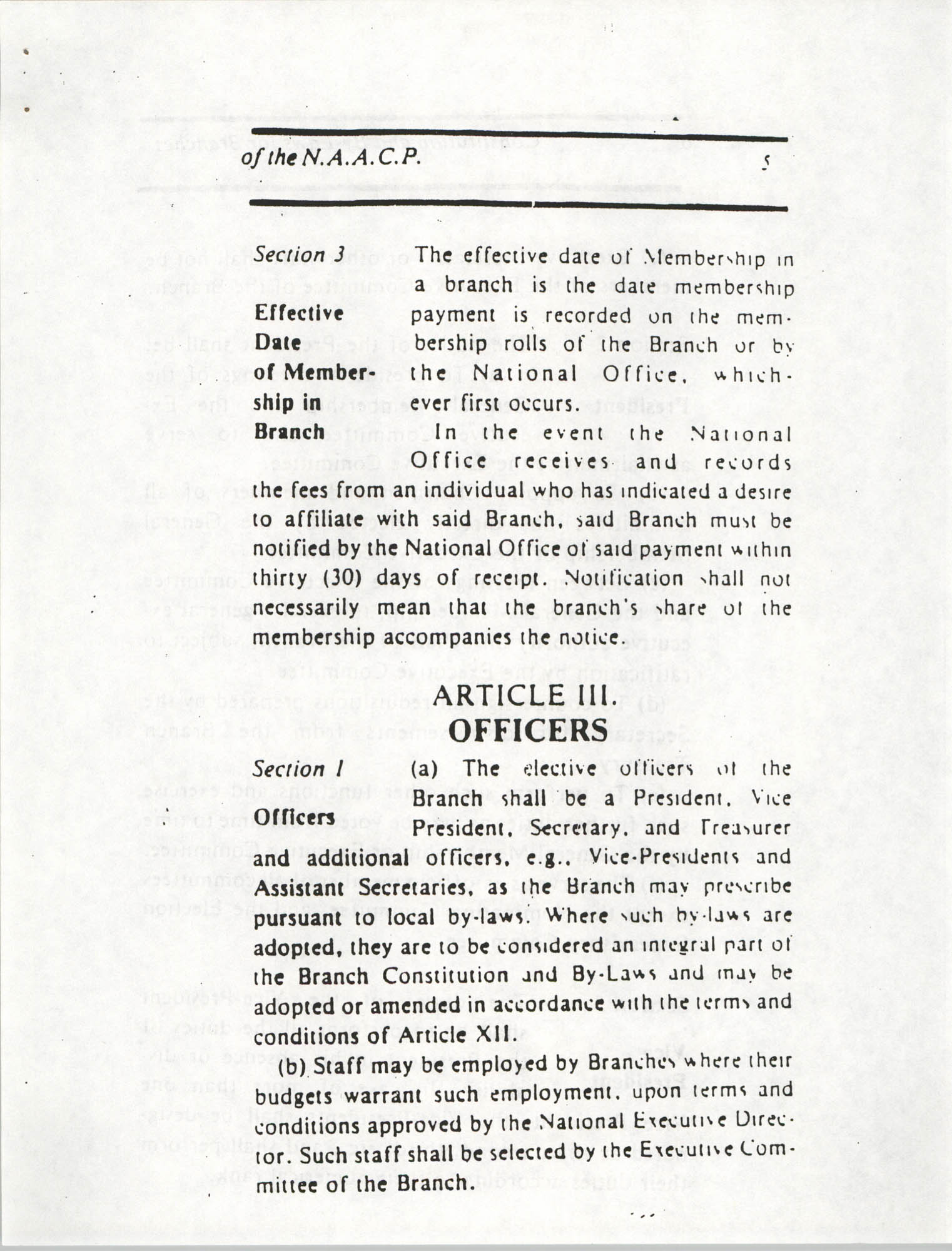 Constitution and By-Laws for Branches of the NAACP, March 1992, Page 5