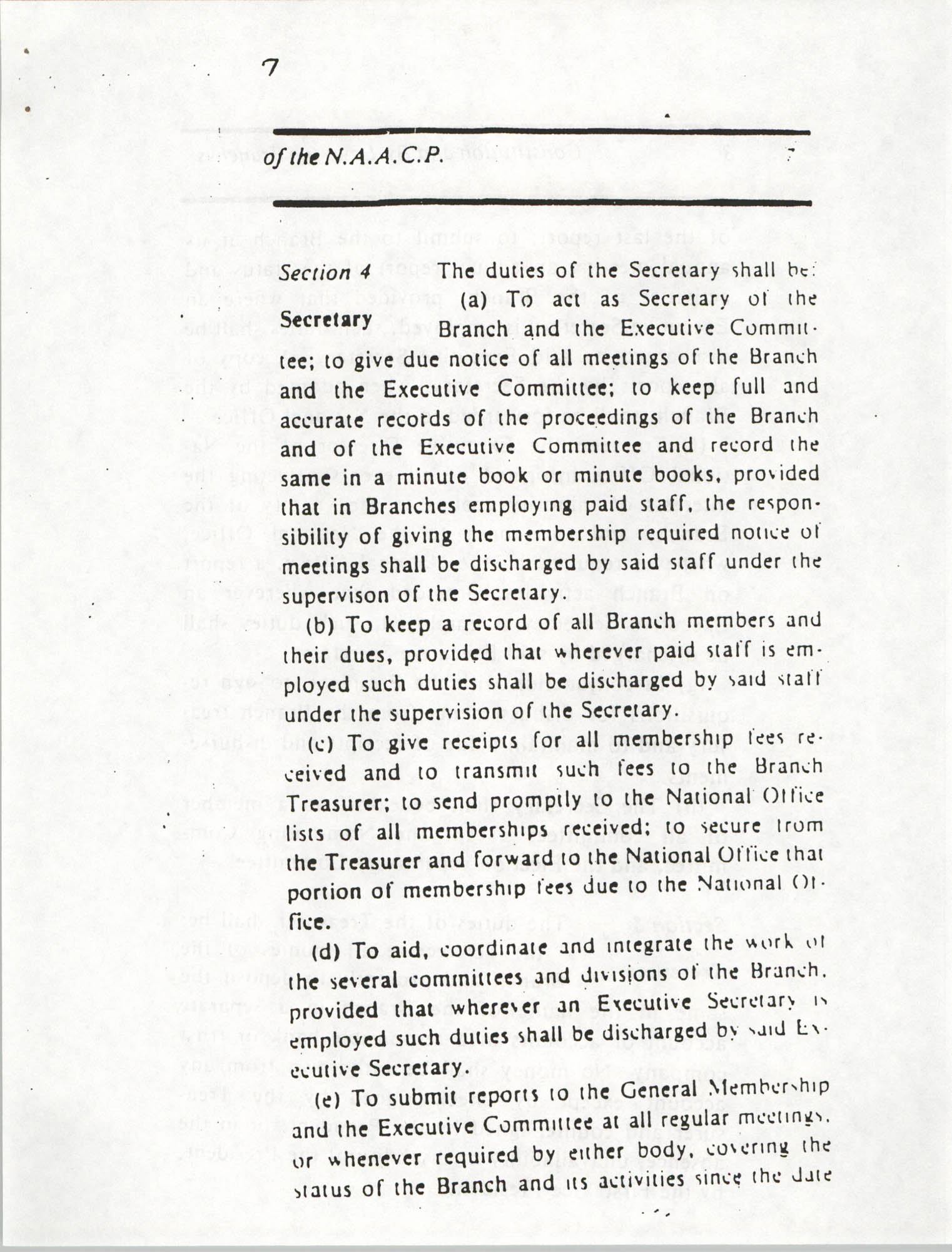 Constitution and By-Laws for Branches of the NAACP, March 1992, Page 7