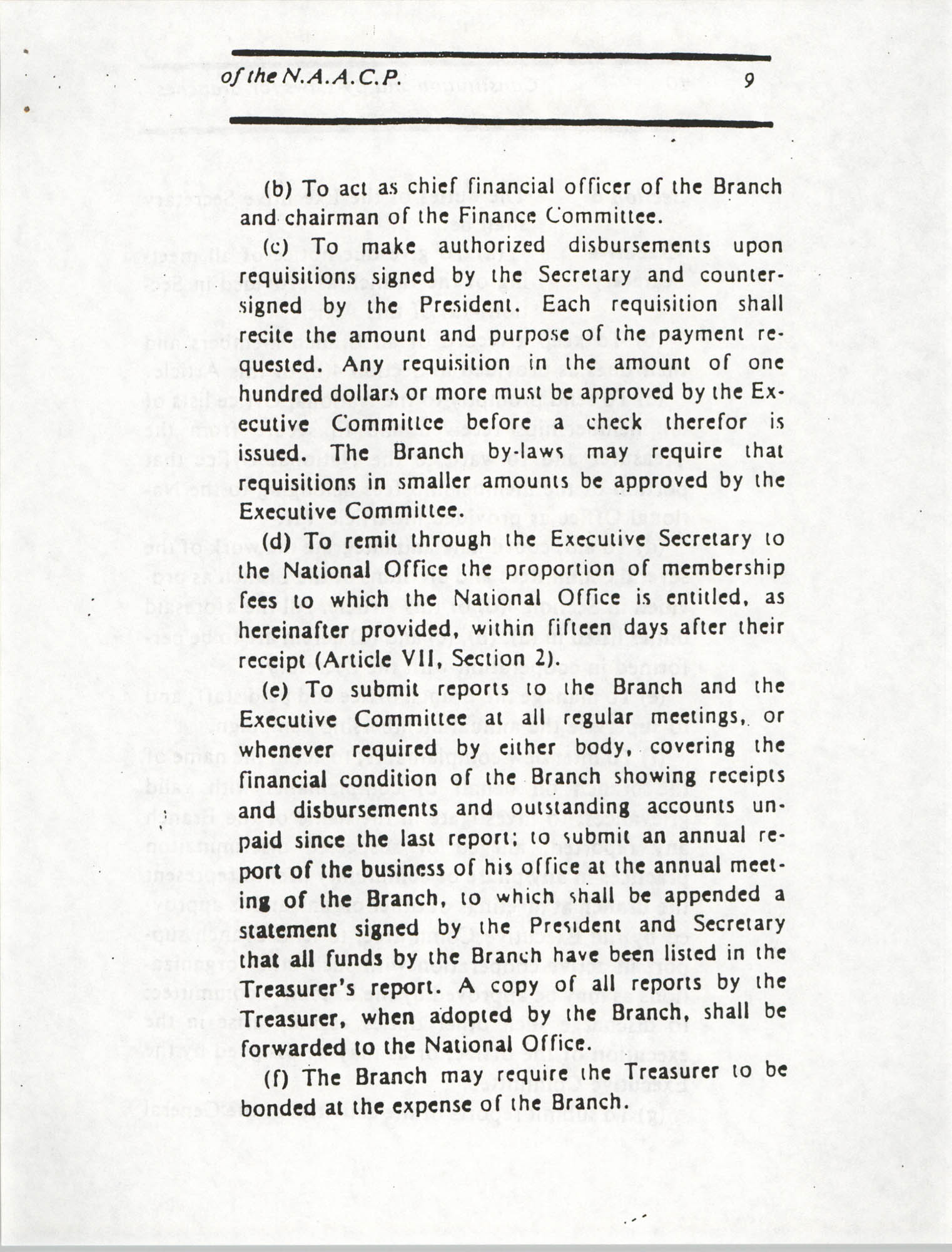 Constitution and By-Laws for Branches of the NAACP, March 1992, Page 9
