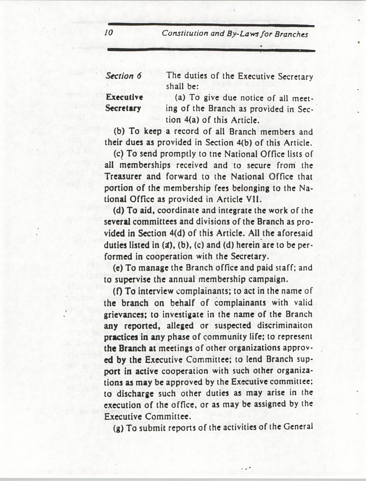 Constitution and By-Laws for Branches of the NAACP, March 1992, Page 10