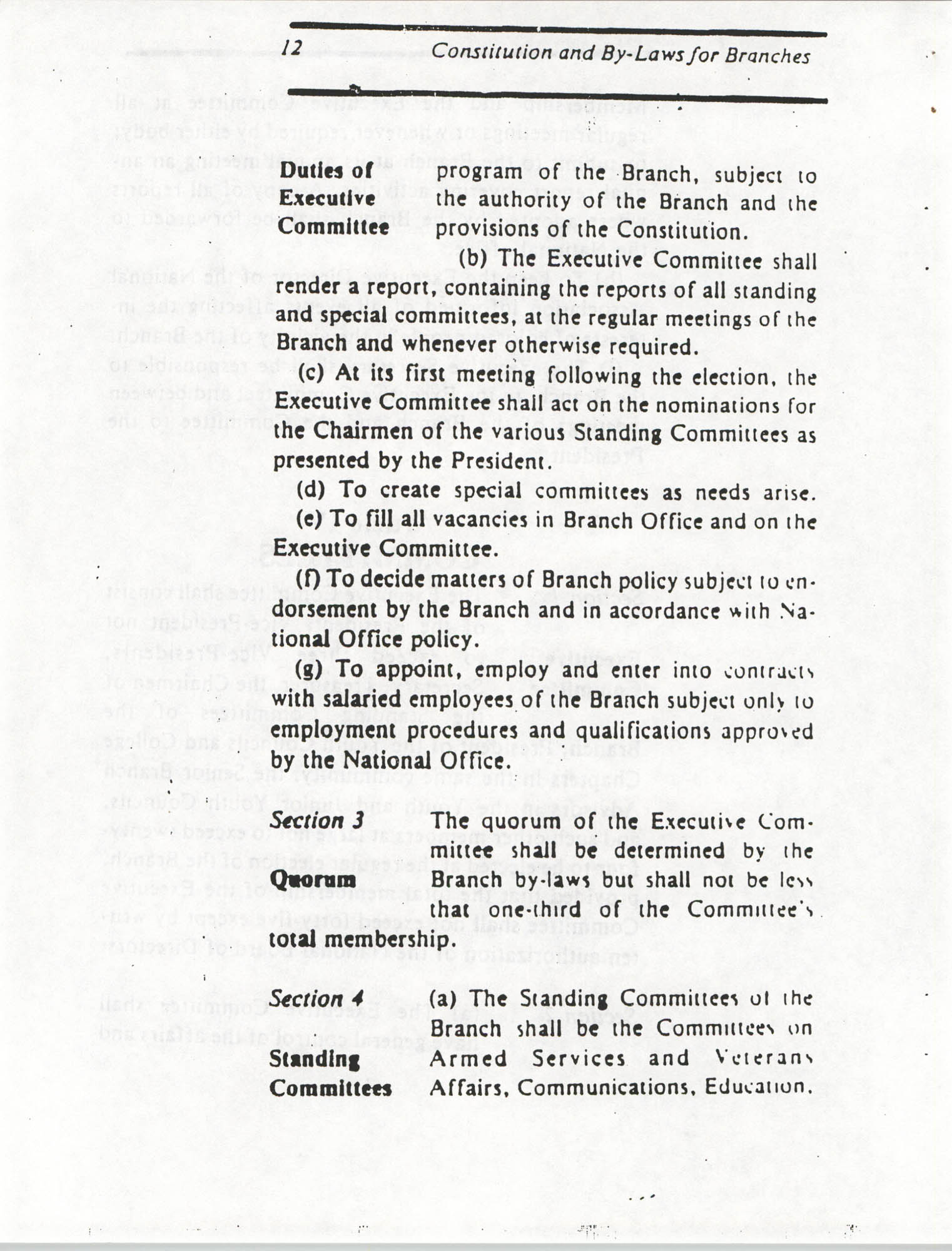 Constitution and By-Laws for Branches of the NAACP, March 1992, Page 12