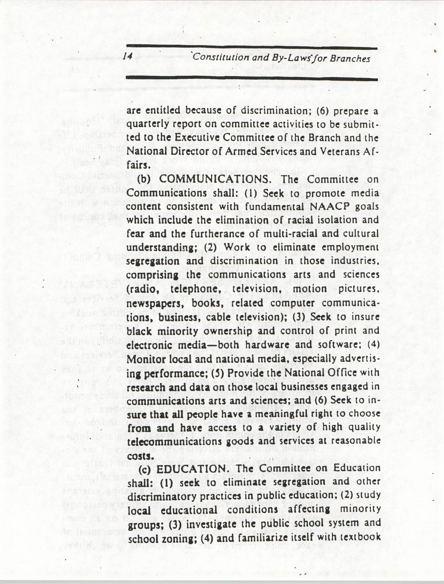 Constitution and By-Laws for Branches of the NAACP, March 1992, Page 14