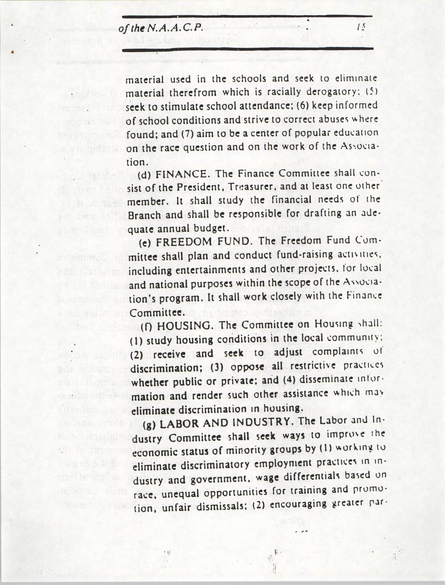Constitution and By-Laws for Branches of the NAACP, March 1992, Page 15