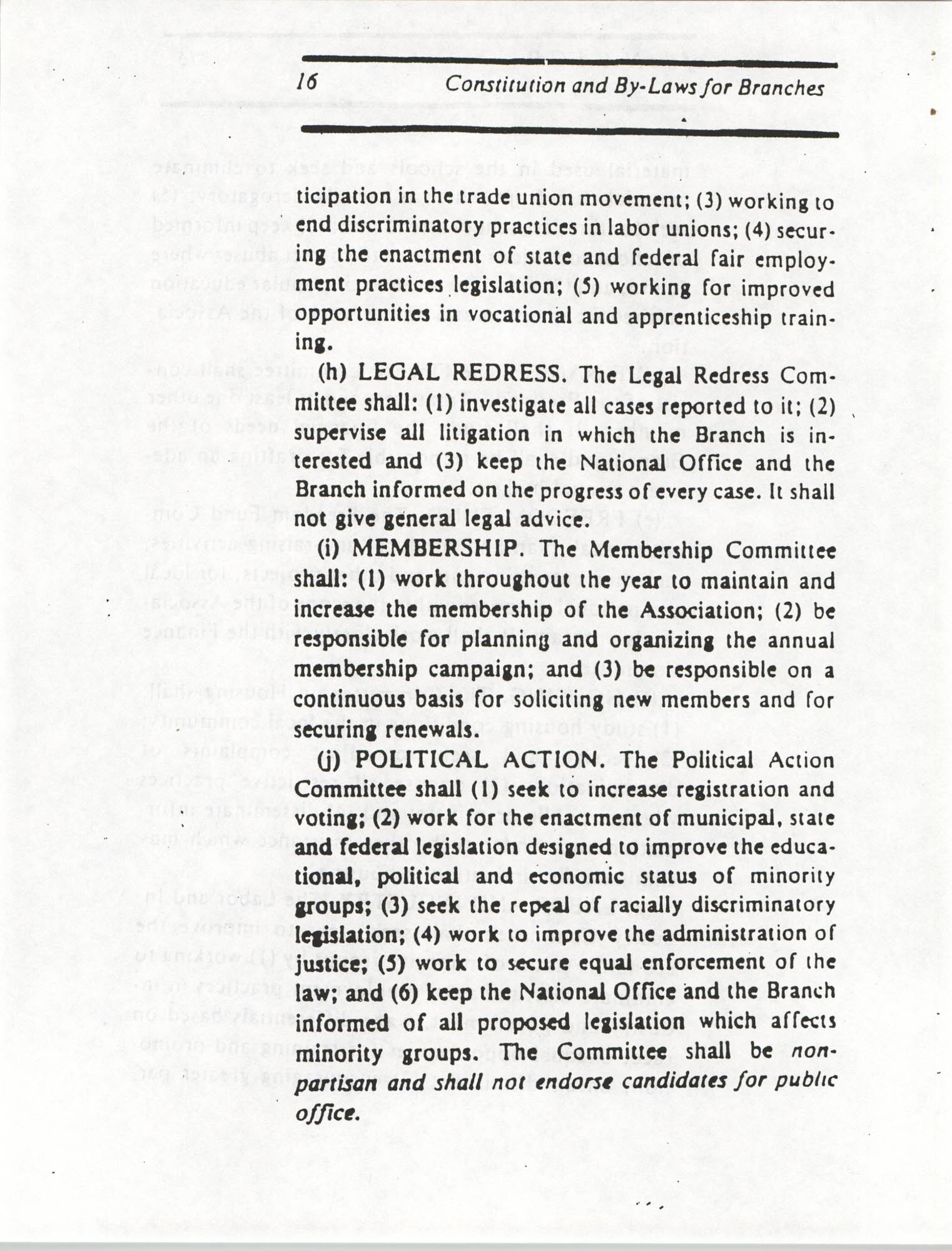 Constitution and By-Laws for Branches of the NAACP, March 1992, Page 16