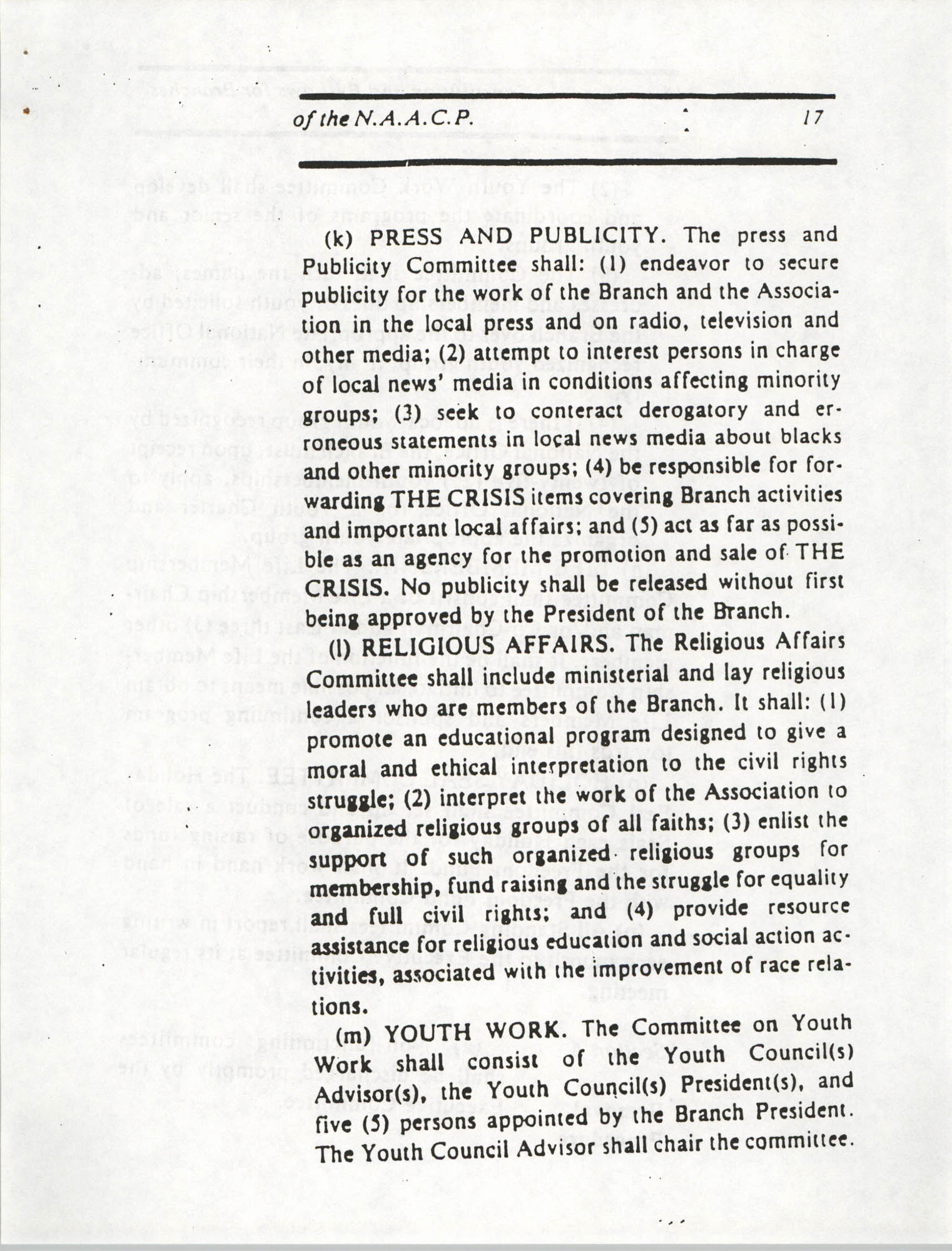 Constitution and By-Laws for Branches of the NAACP, March 1992, Page 17