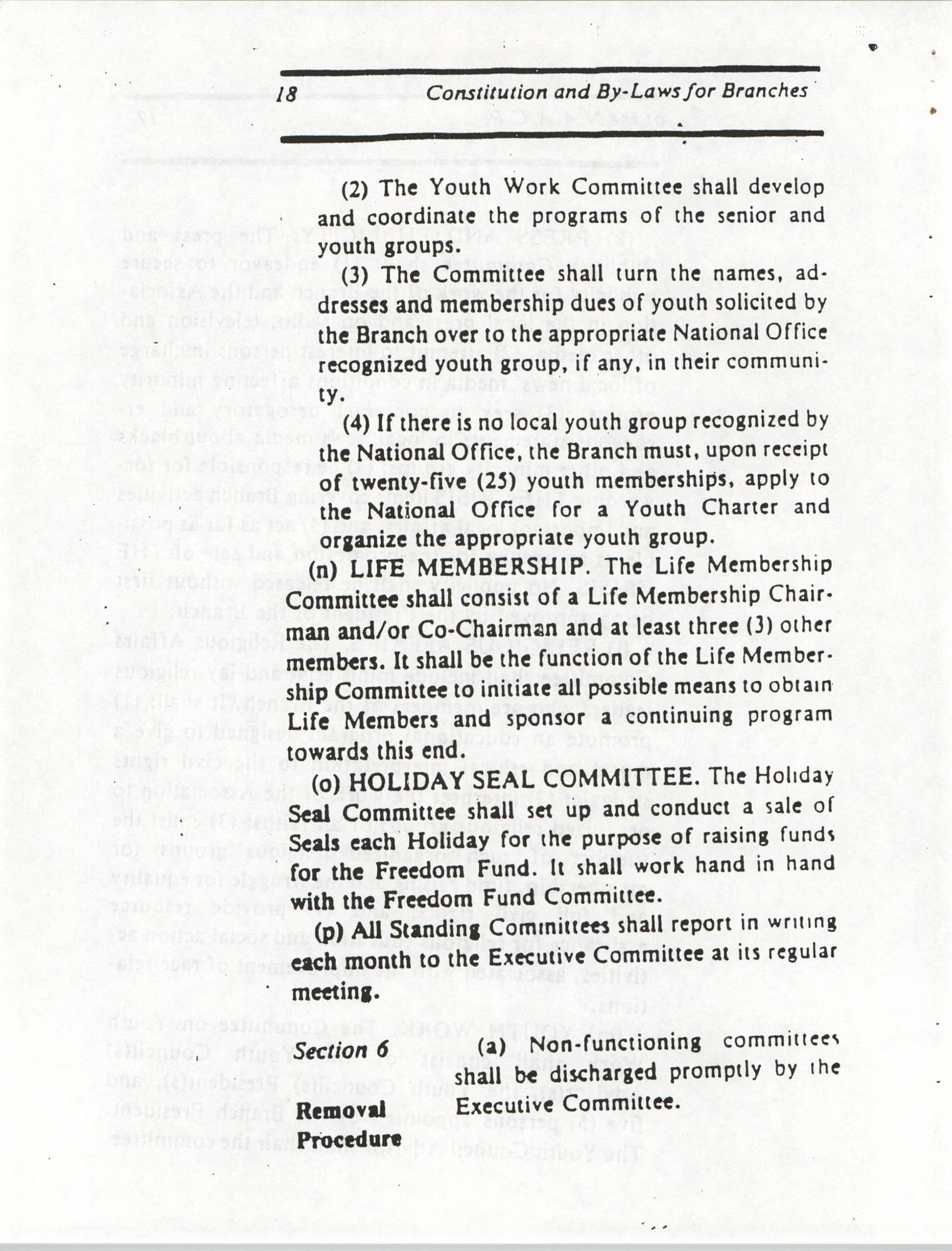 Constitution and By-Laws for Branches of the NAACP, March 1992, Page 18